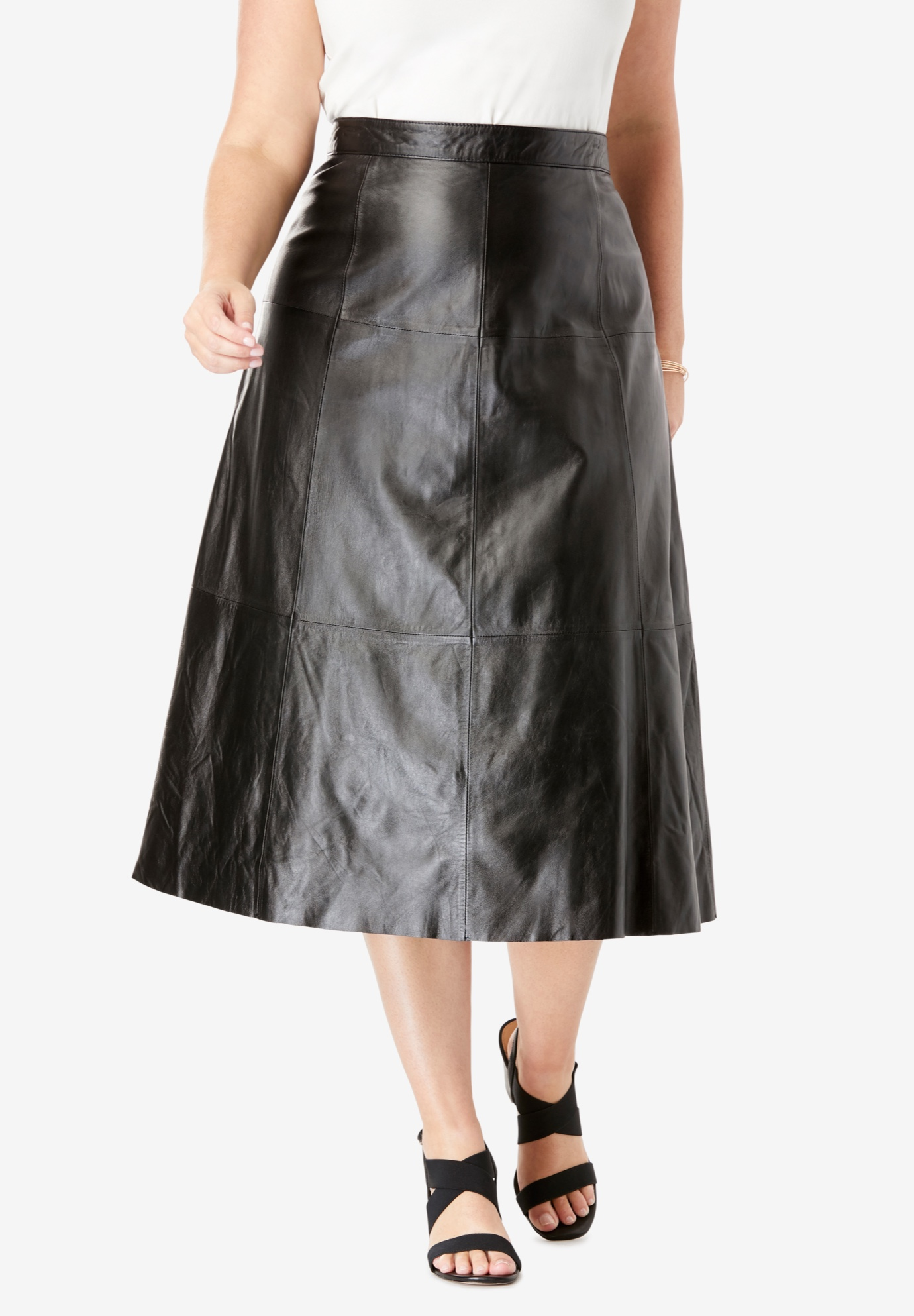 Leather Midi Skirt| Plus Size Skirts | Jessica London