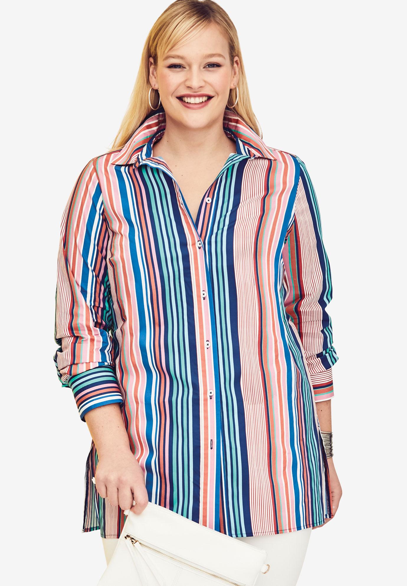 Long Sleeve Collared Poplin Tunic Plus Size Tops Sweaters