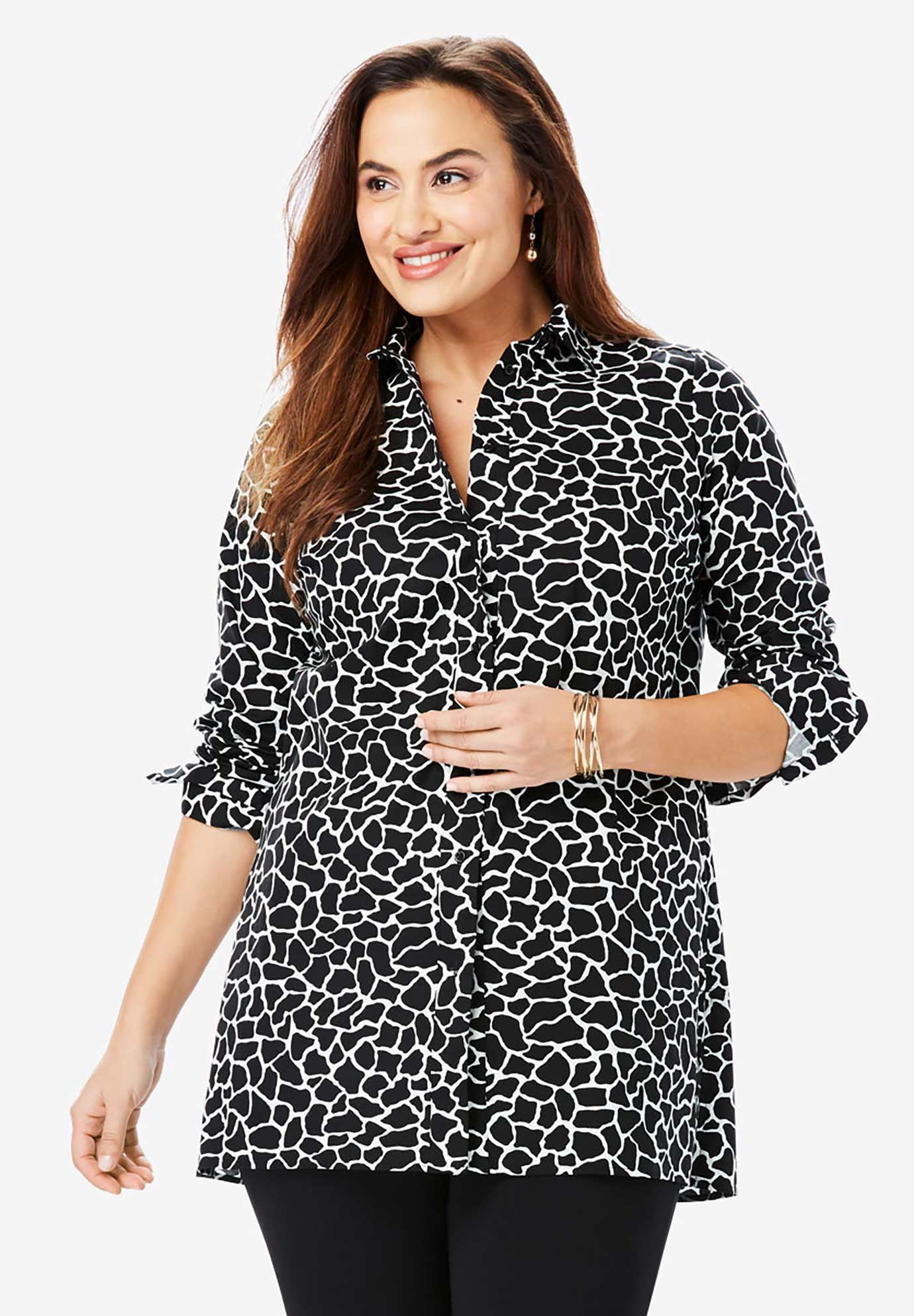 Long Sleeve Collared Poplin Tunic,