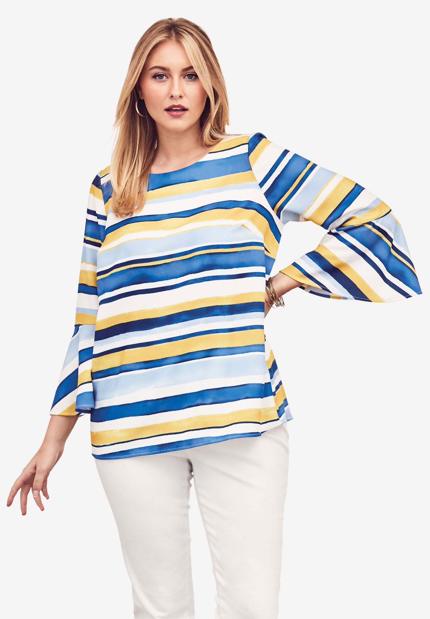 Textured Crepe Bell Sleeve Blouse,
