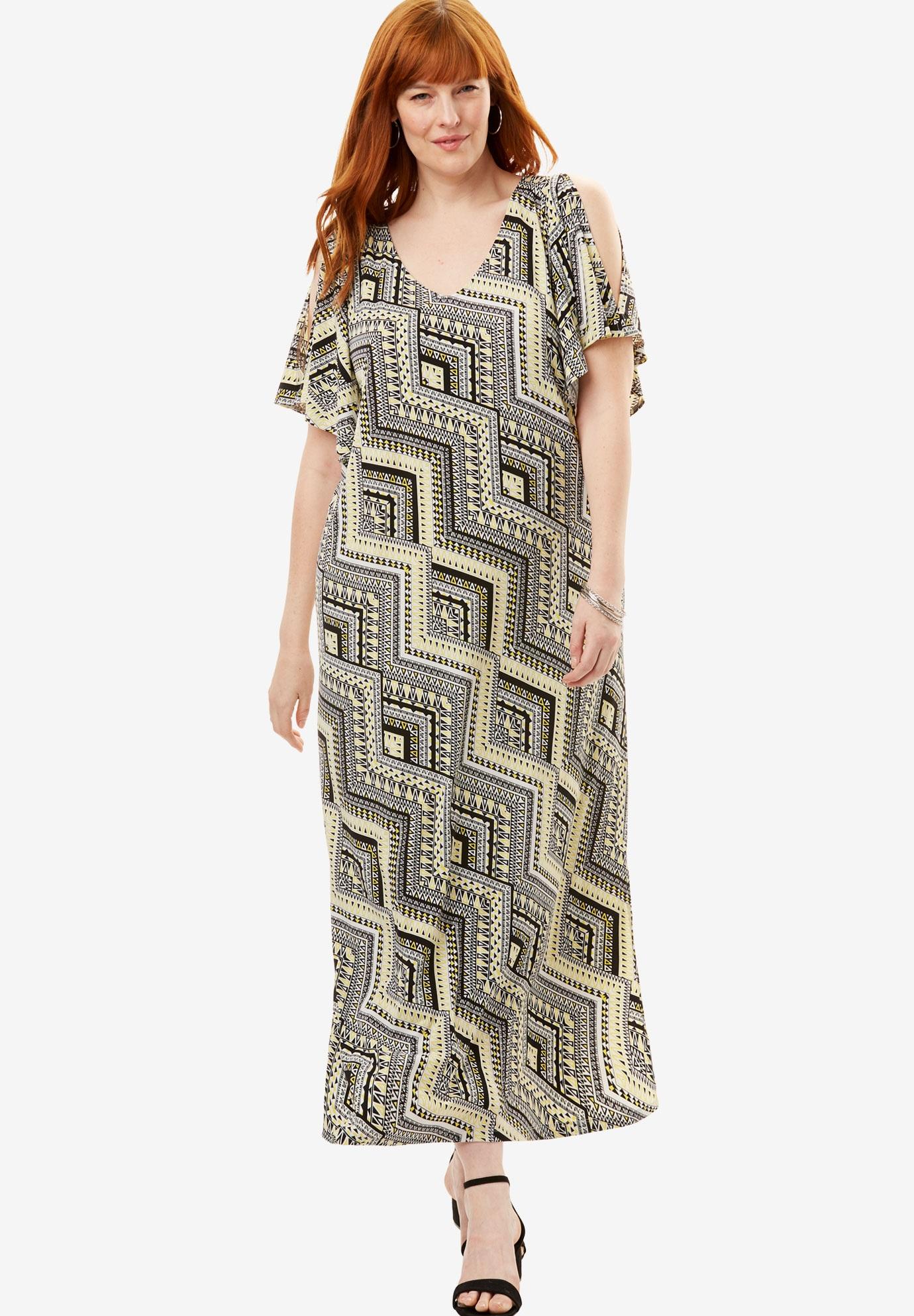 75c05fe3a2c Travel Knit Cold Shoulder Maxi Dress