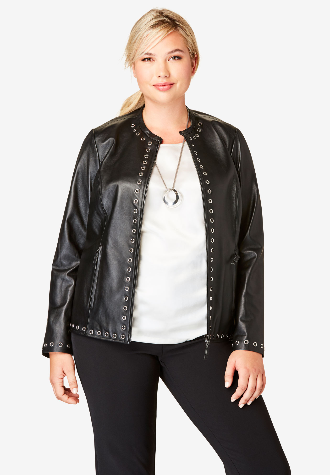 0a91ecf785979 Embellished Leather Jacket