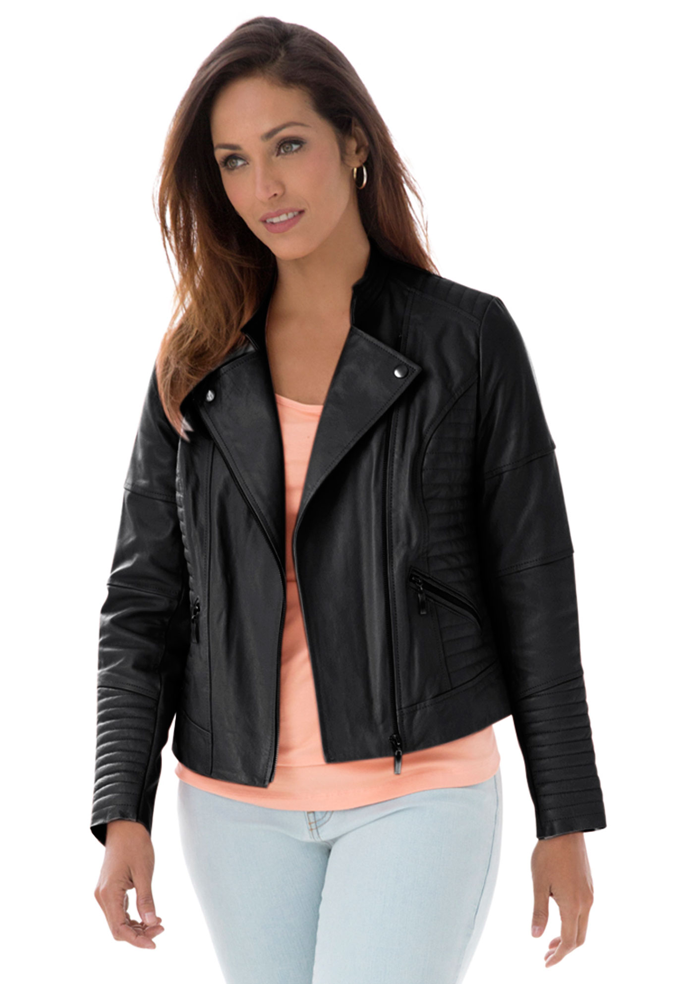 Quilted Leather Moto Jacket Plus Size Coats Jackets Jessica London