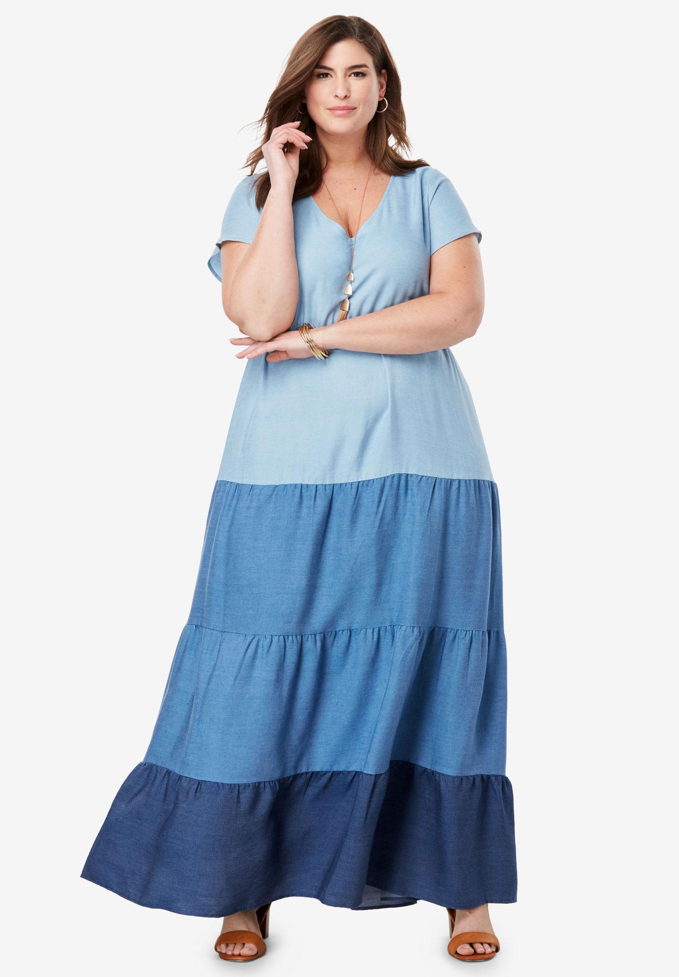 Tiered Tencel® Maxi Dress| Plus Size Maxi Dresses | Jessica London