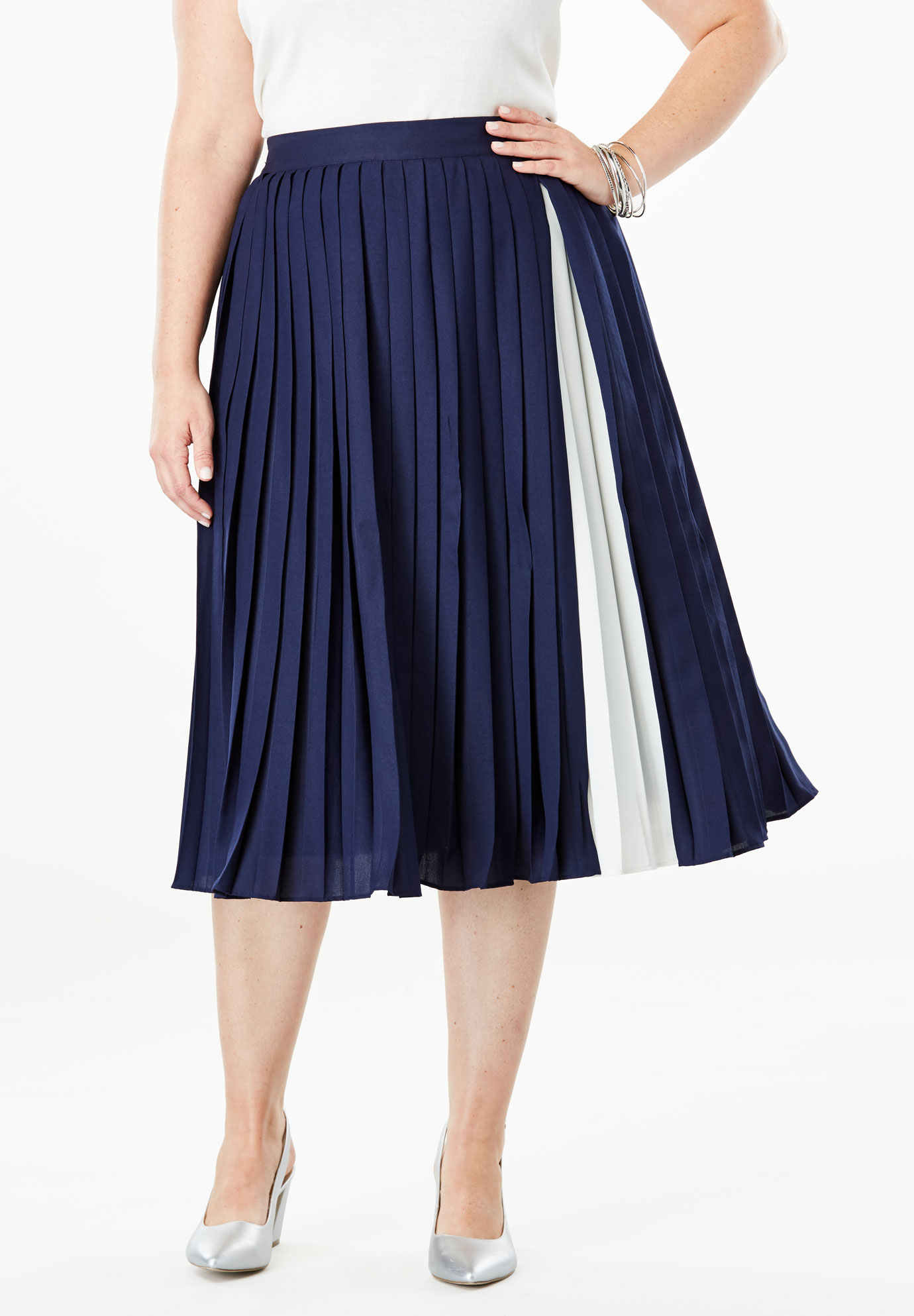 Colorblock Pleated Skirt,