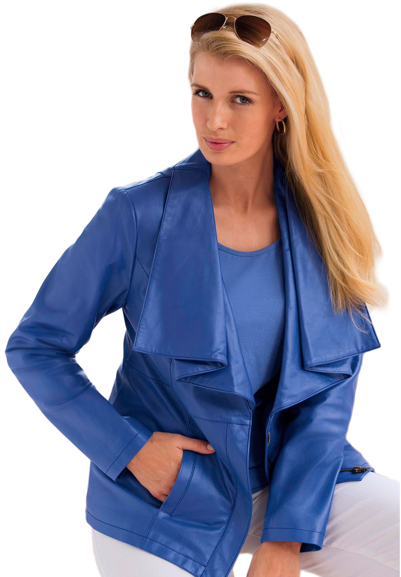 baea2deb8dc46 Leather Jacket With Ruffle Front