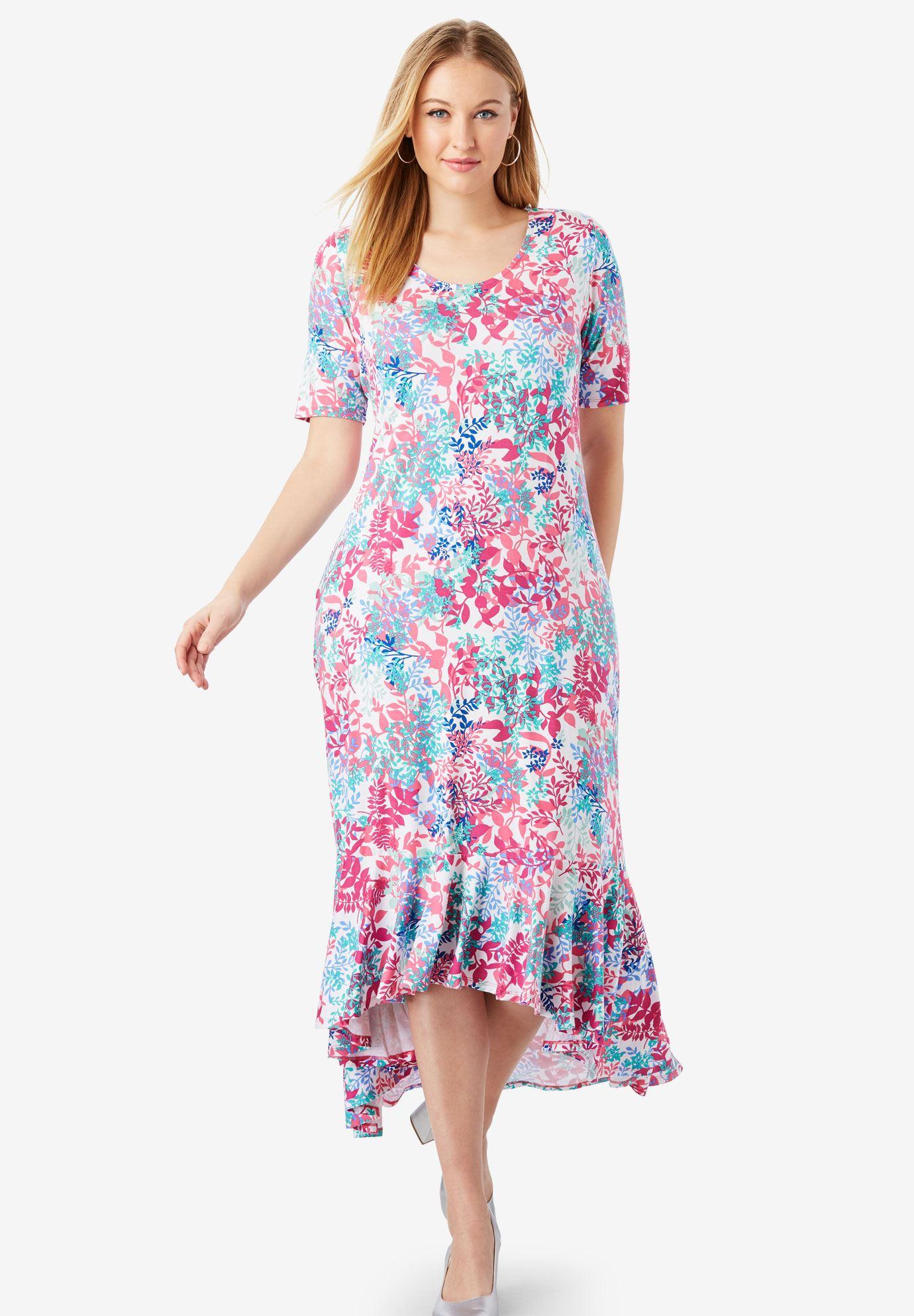 Everyday Knit Flounce Hem Maxi Dress  Plus Size Maxi Dresses ...