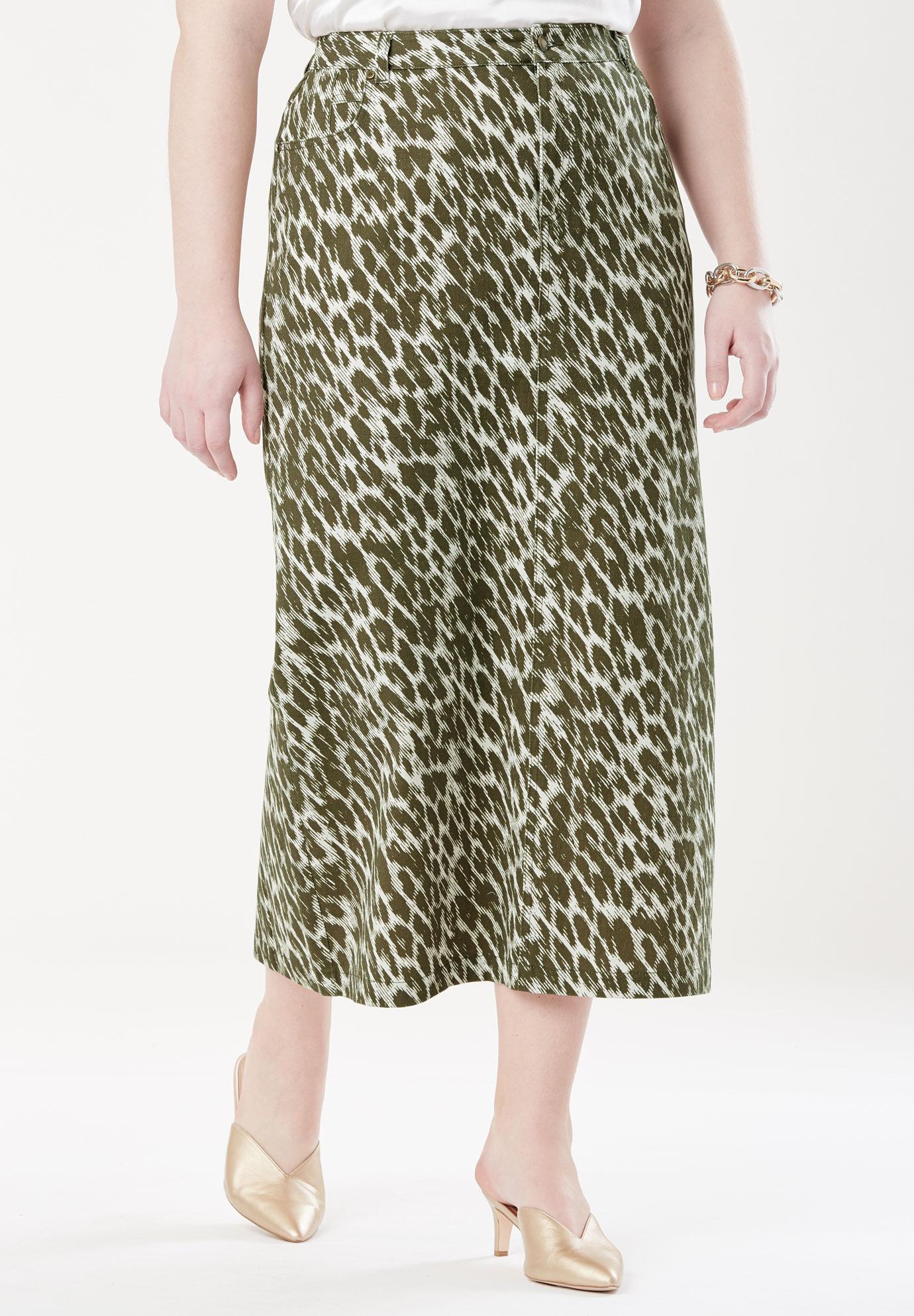 5483f7b5f9 Classic Cotton Denim Long Skirt| Plus Size Dresses | Jessica London