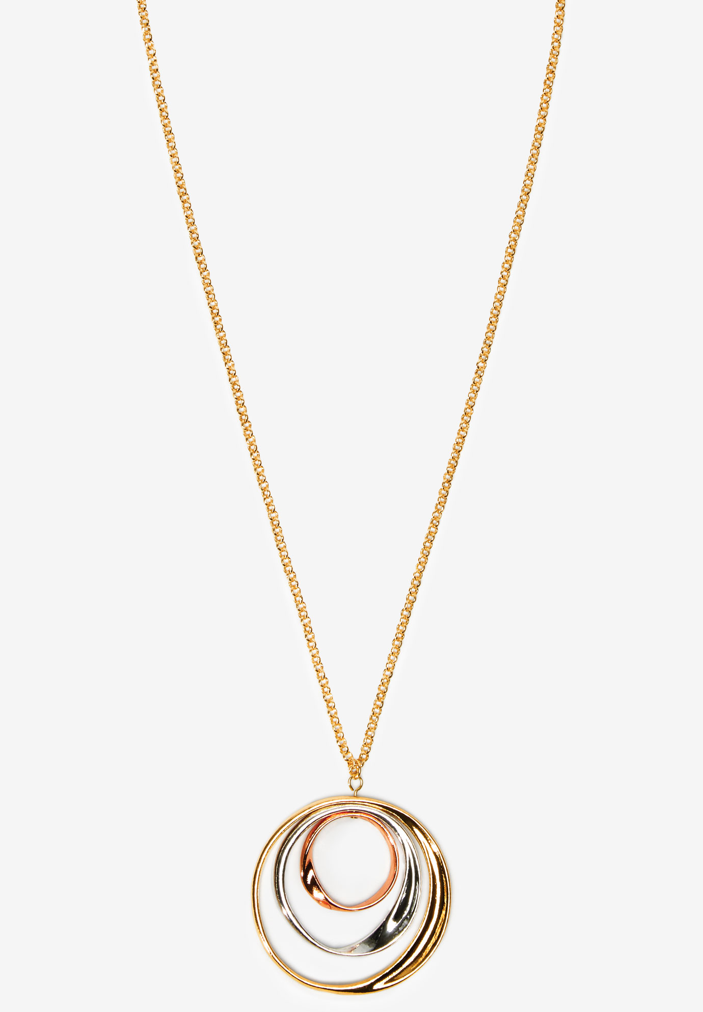 Tri-Colored Circle Necklace, GOLD COMBO