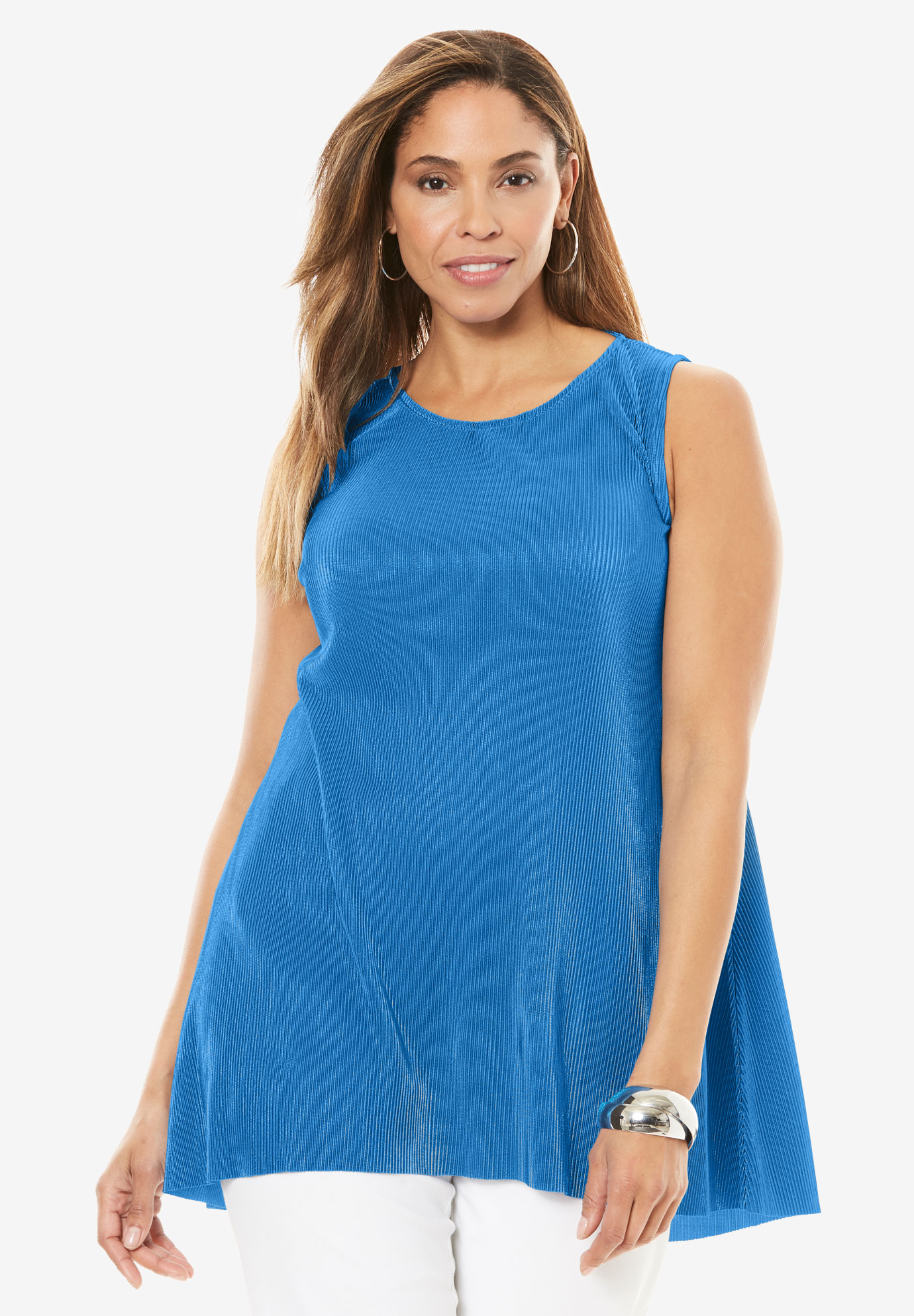 A-Line Shimmer Pleat Tunic,