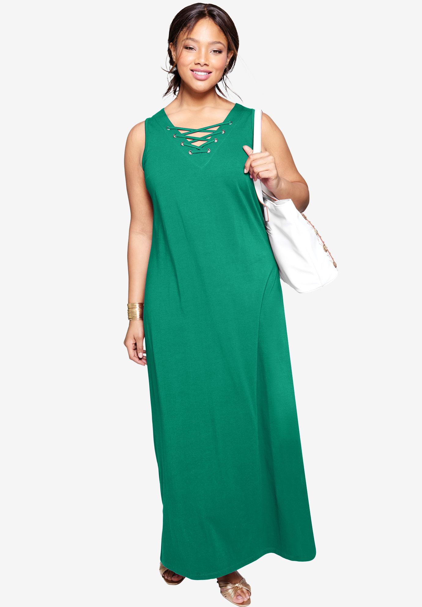 Lace Up Maxi Dress| Plus Size Dresses | Jessica London