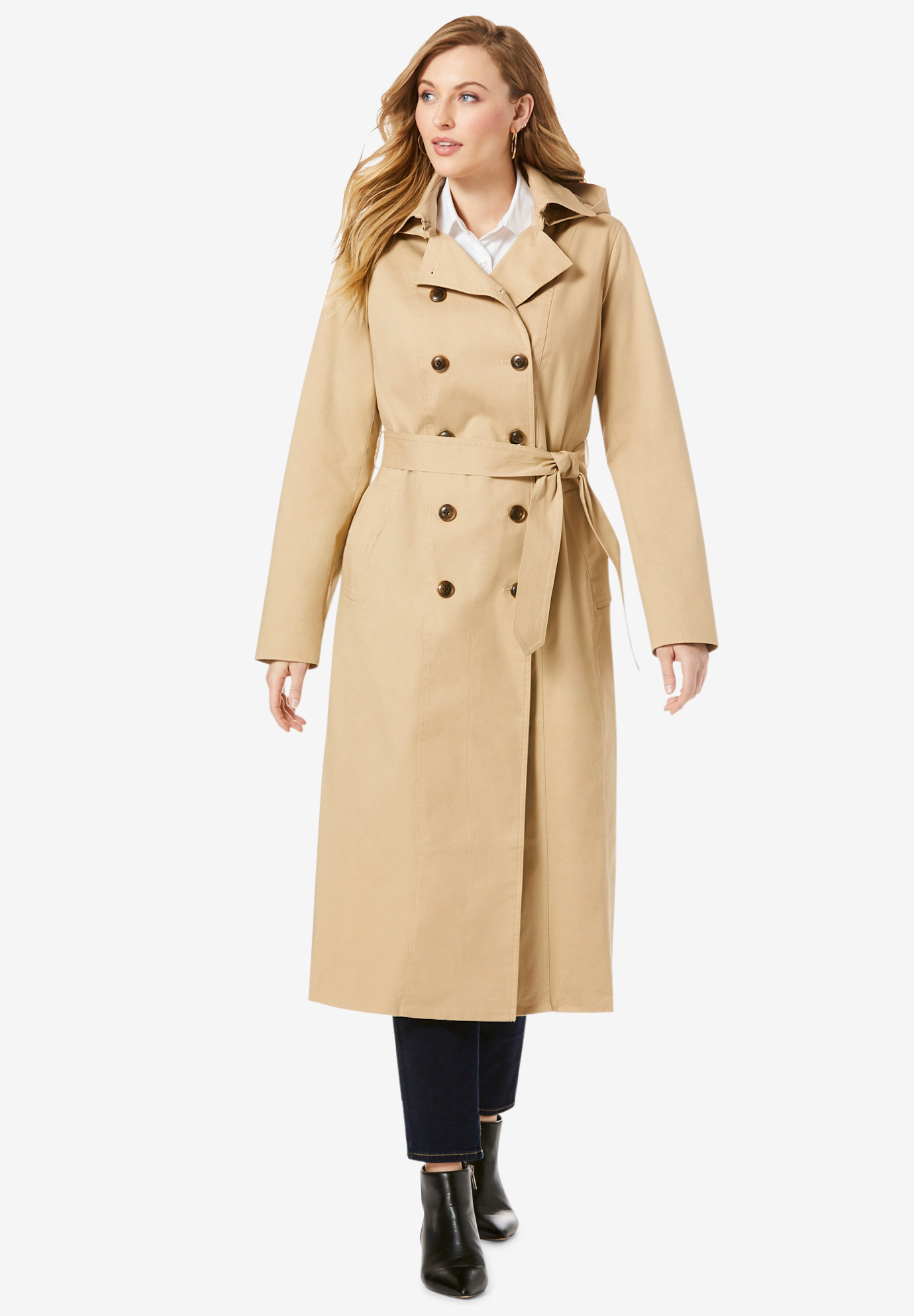 c0a2d29ce20e Double Breasted Long Trench Coat| Plus Size Trench Coats & Raincoats ...