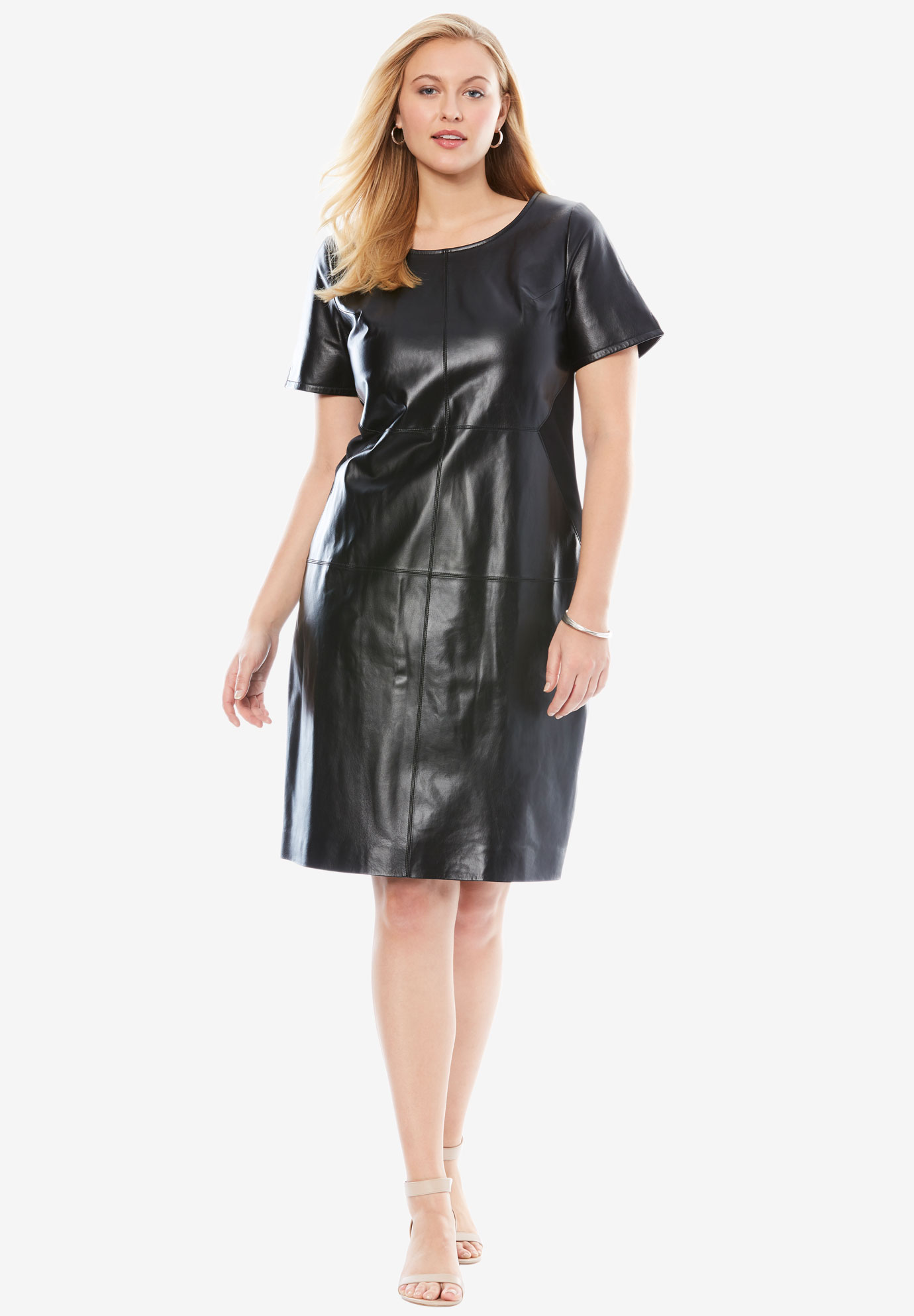 Leather & Ponté Knit Sheath Dress with Crew Neckline,