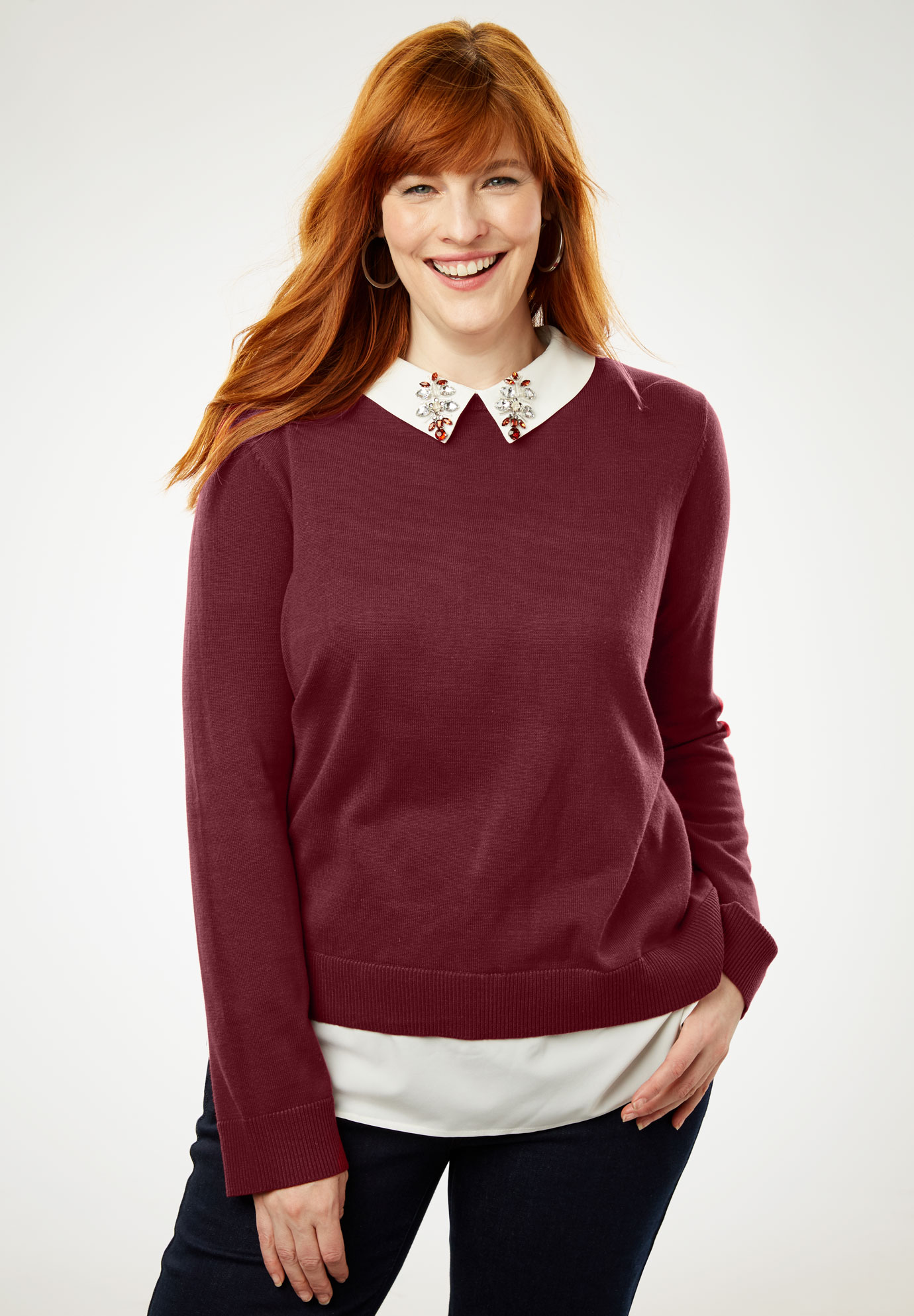 Twofer Sweater, BURGUNDY