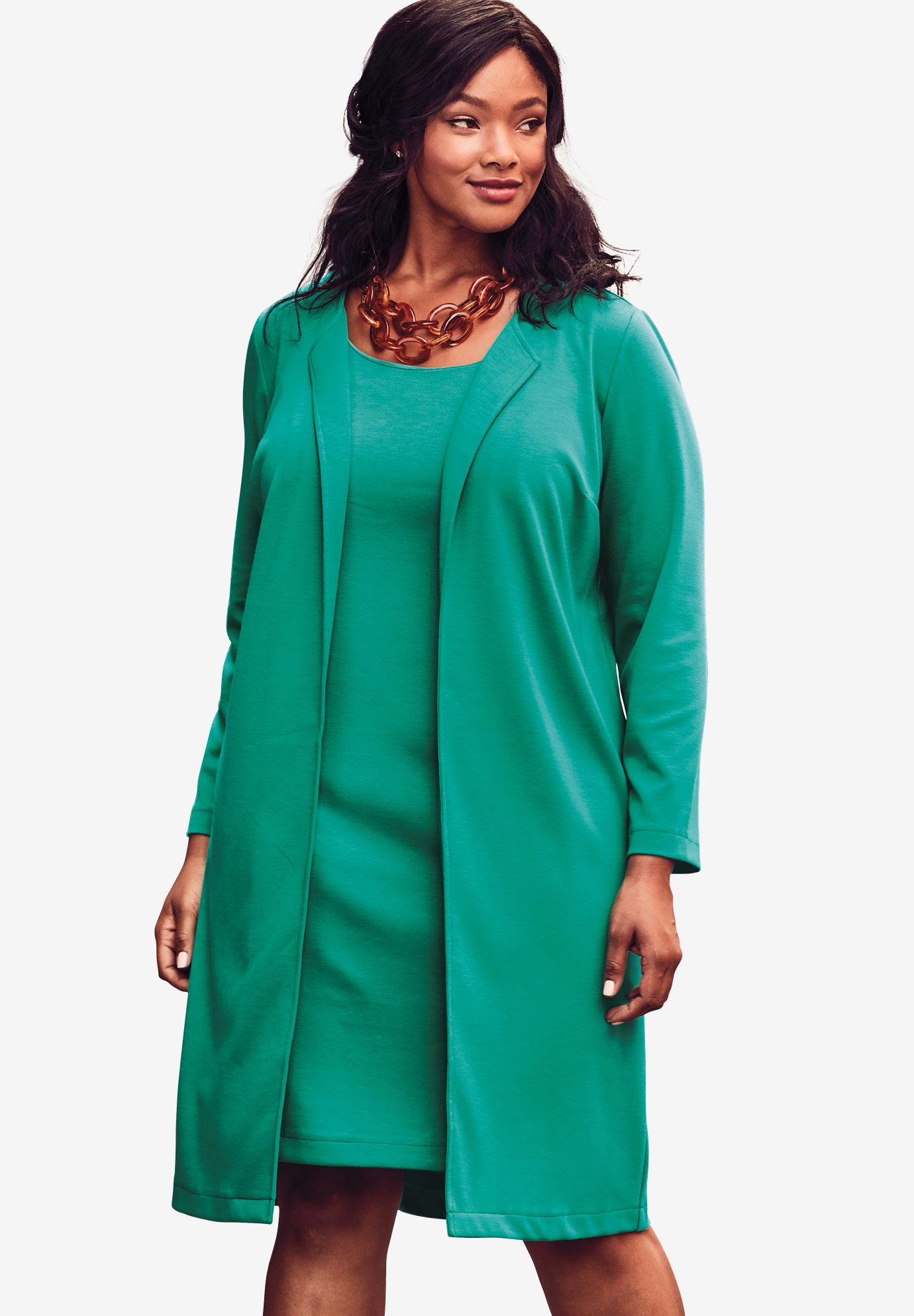 b1204d74d49 2-Piece Pont eacute  Knit Jacket Dress