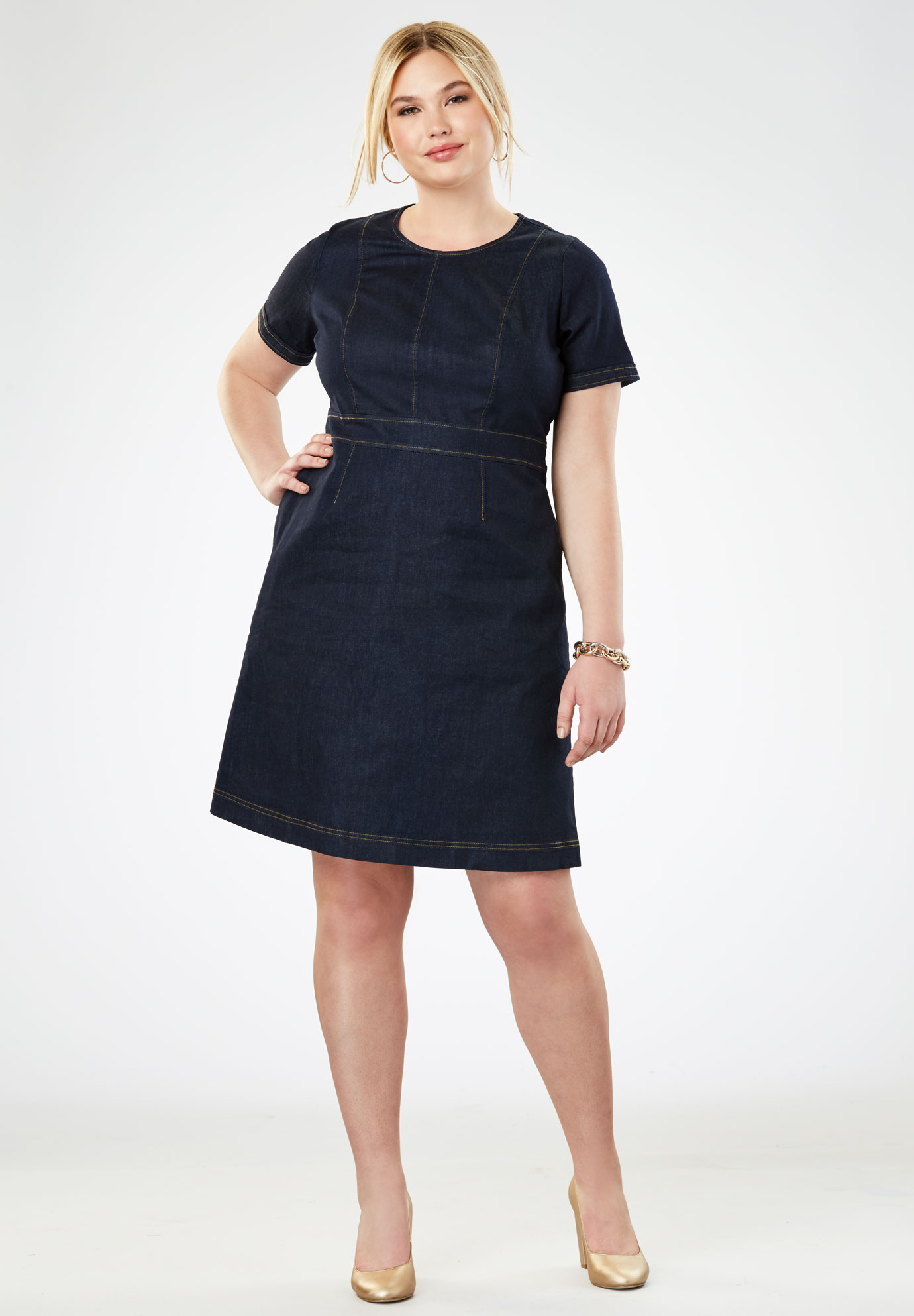 Refined A-Line Denim Dress,