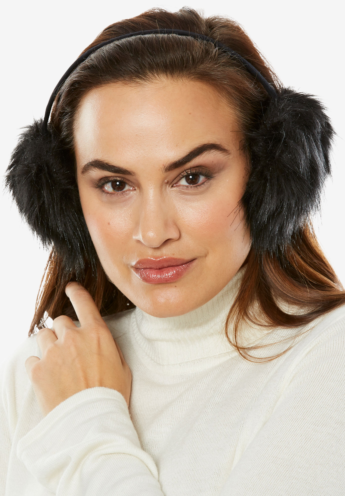 Faux Fur & Velvet Earmuffs, BLACK