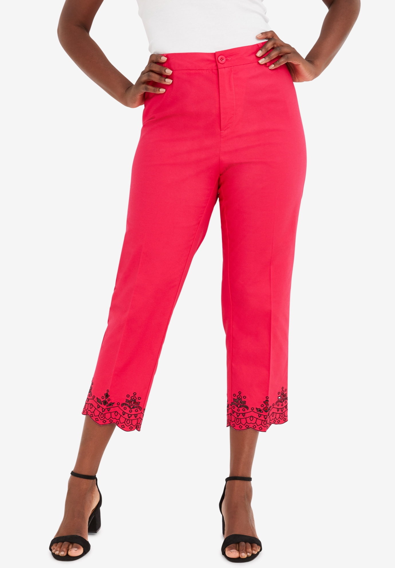 Stretch Poplin Straight-Leg Crop Pant,
