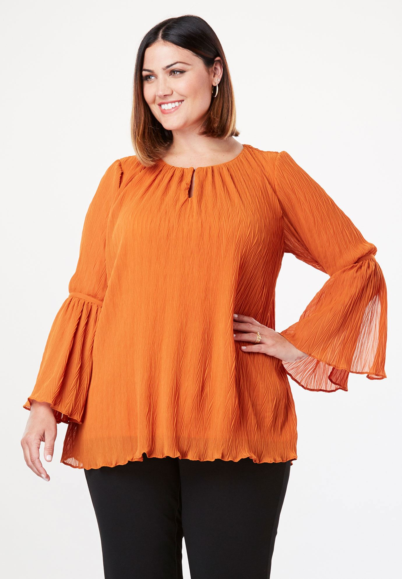 Crinkle Bell Sleeve Blouse Plus Size Shirts Blouses Jessica London