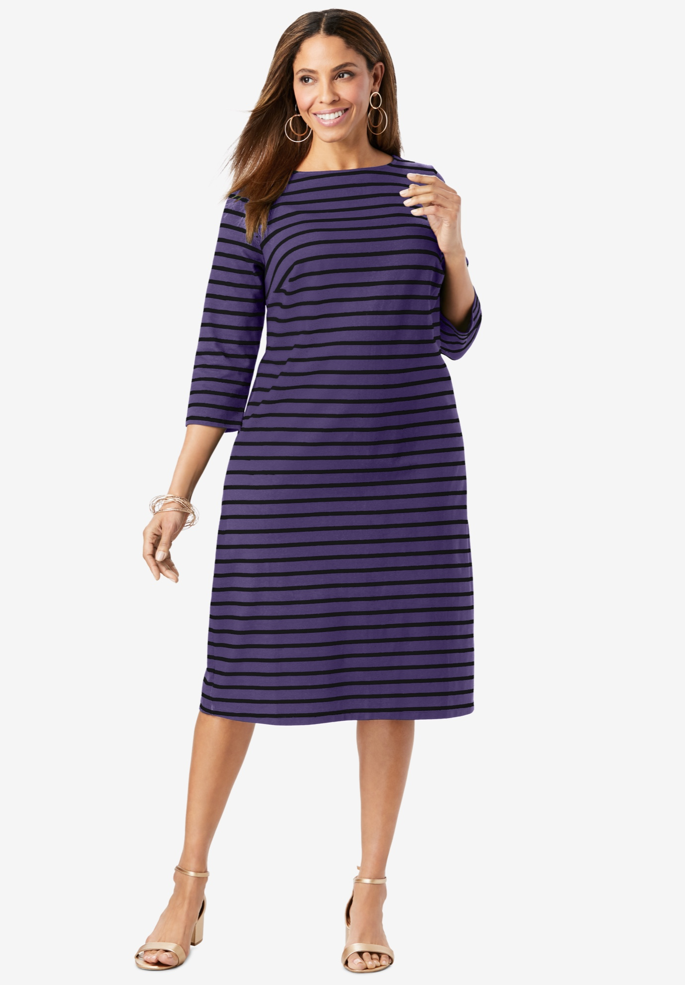 Boatneck Shift Dress,