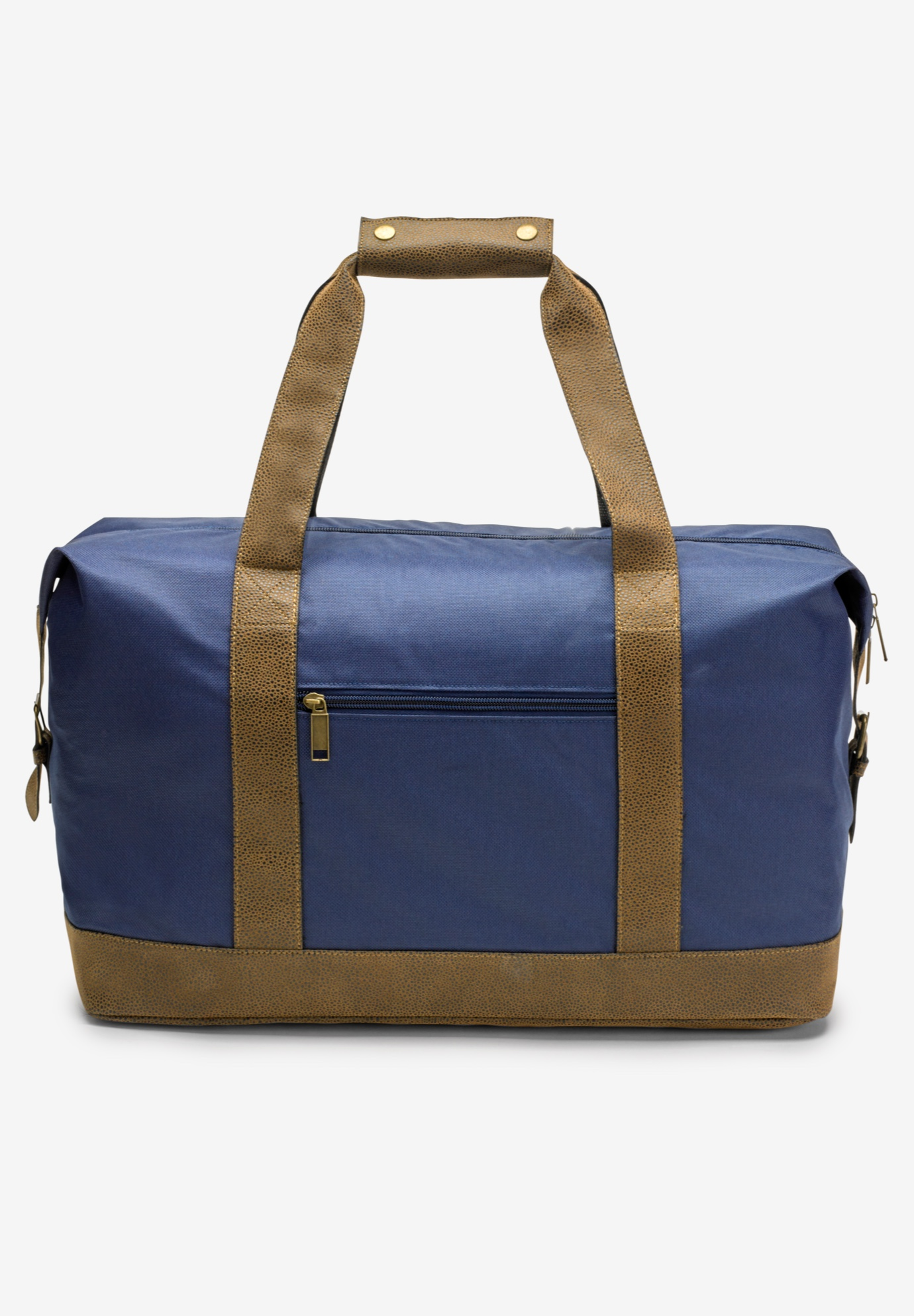 Canvas Duffle Bag With Suede Details, NAVY