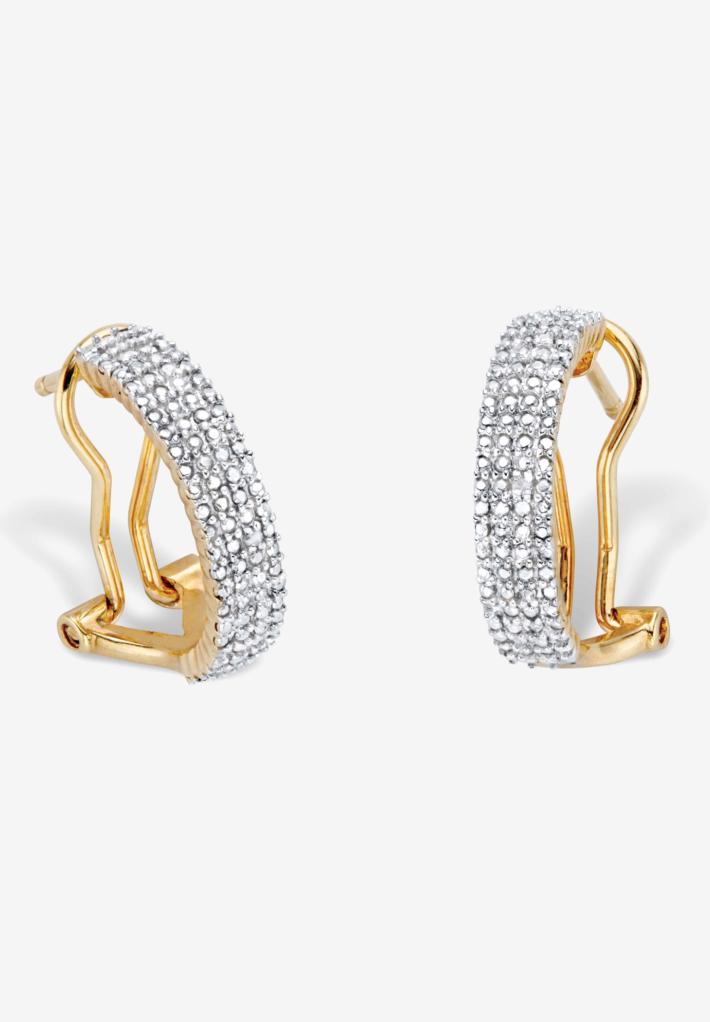 Yellow Gold-Plated Demi Hoop Earrings with Genuine Diamond Accents, DIAMOND