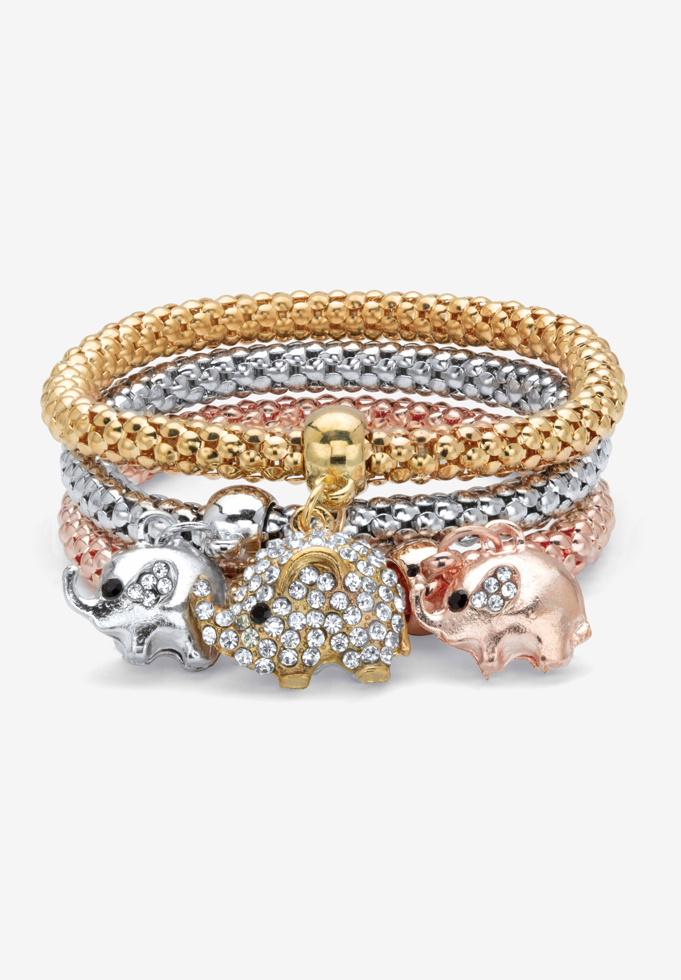 "Gold Tone Crystal Elephant 8.5"" Charm Stretch Bracelet Set, CRYSTAL GOLD"