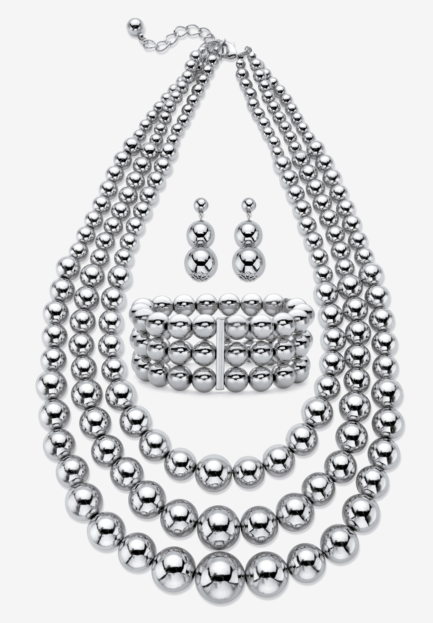 Silver Tone Necklace Set, WHITE