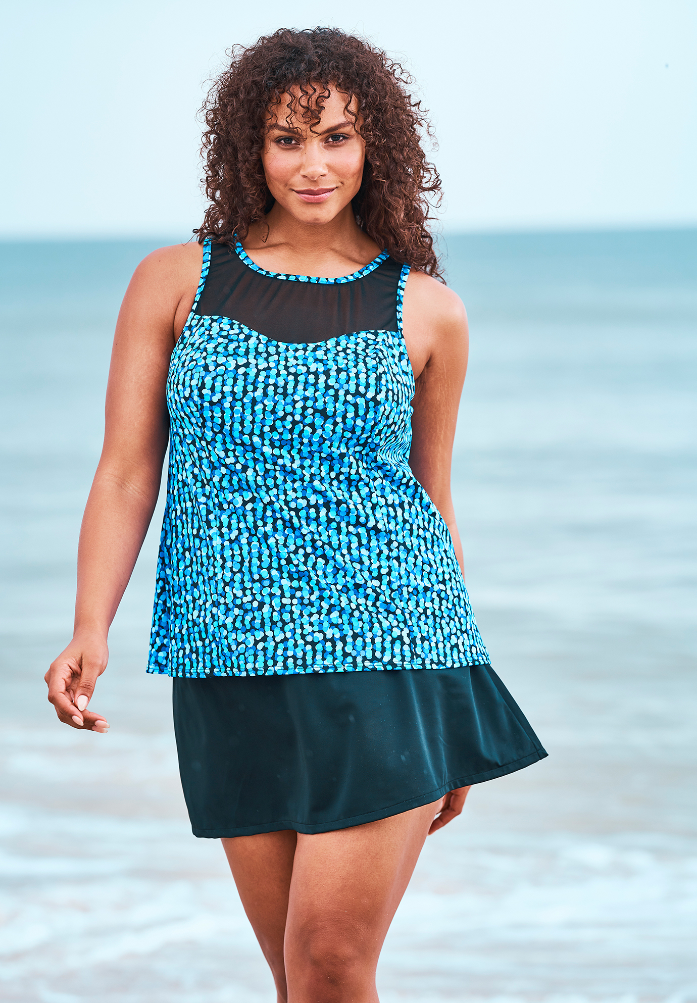a5755c5dae High-Neck Swim Tankini Top by Trimshaper® by Miraclebrand| Plus Size ...