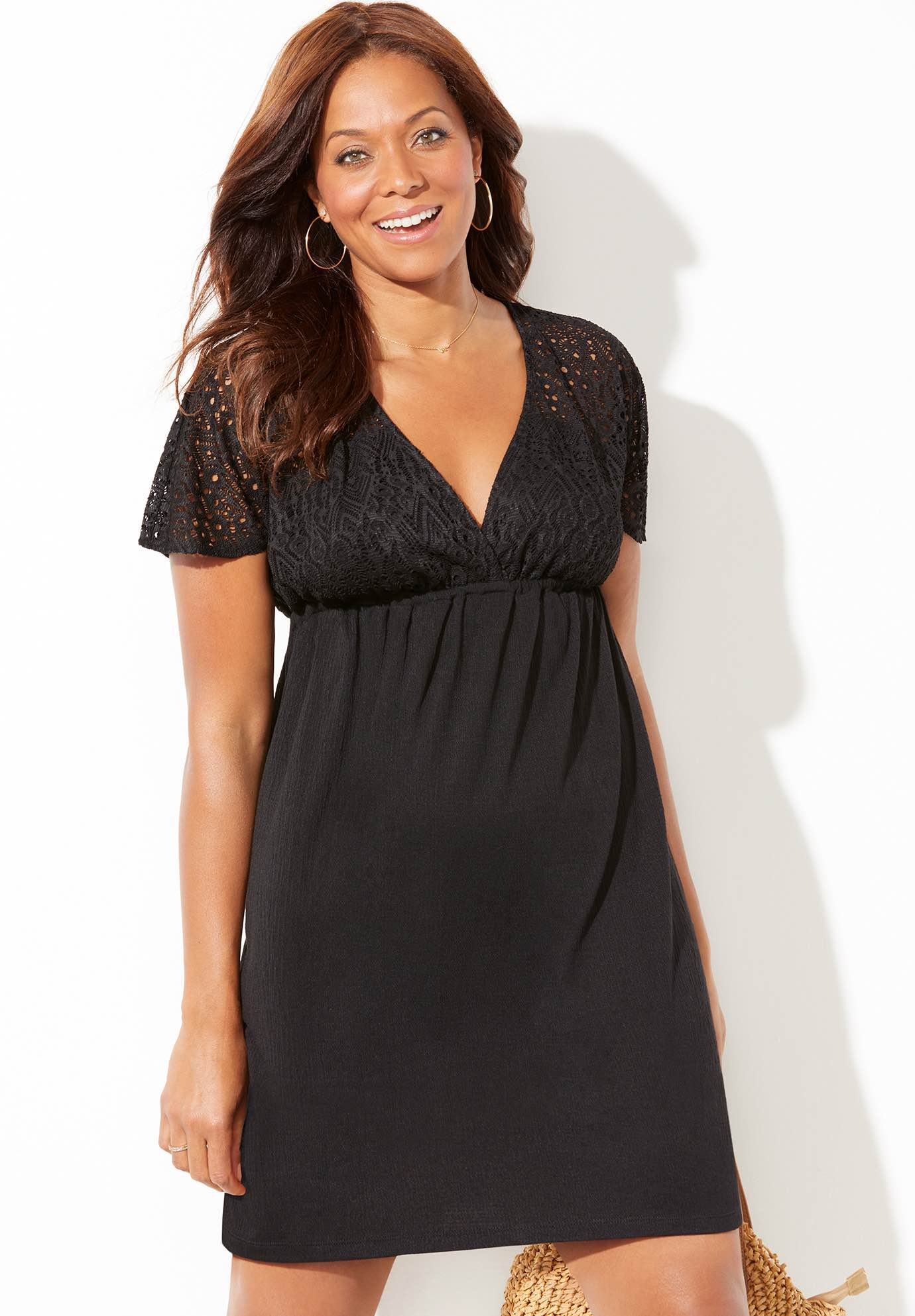 Roxie V-Neck Crochet Dress Cover Up,