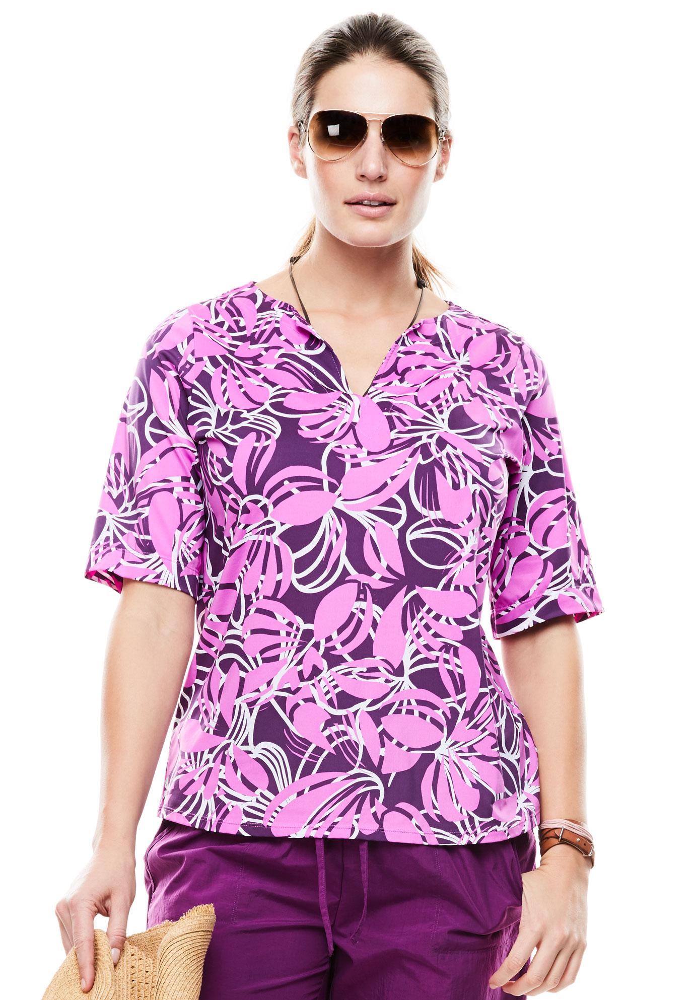 095ed8bb14b Three-Quarter Sleeve Swim Tee| Plus Size Swimwear | Jessica London