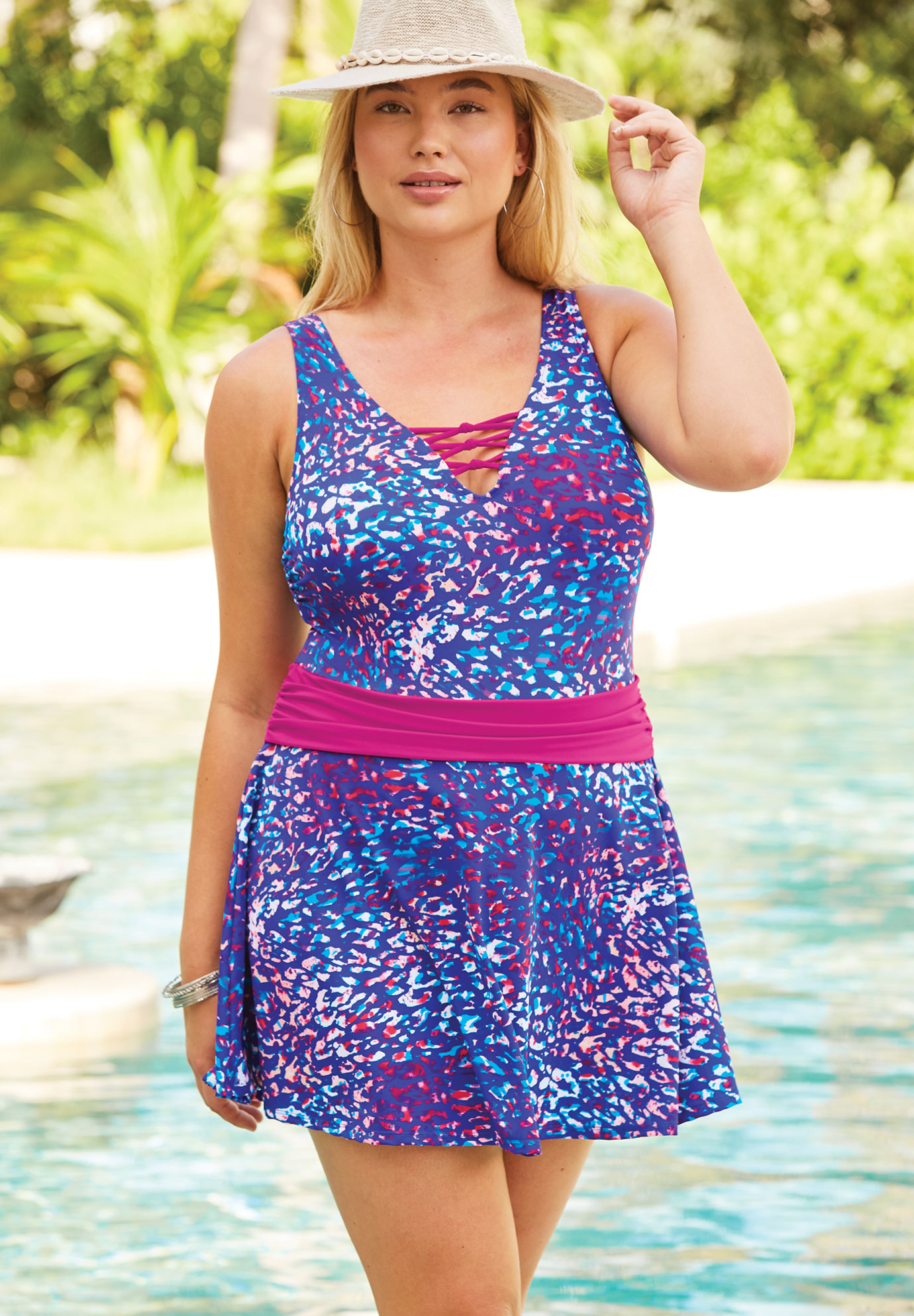 Knot-Detail Swim Dress,