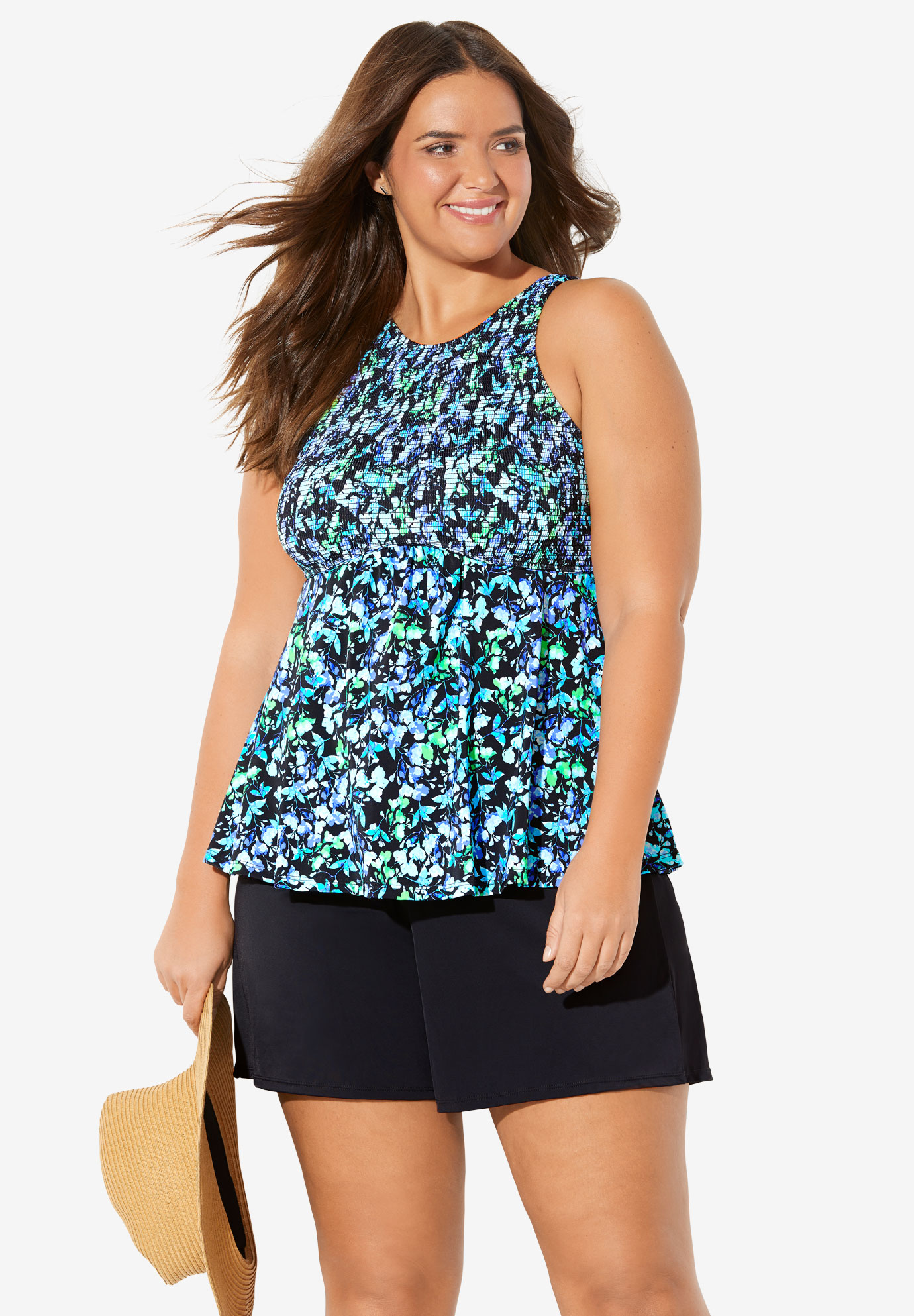 Smocked High-Neck Tankini Top by Fit 4 U®,