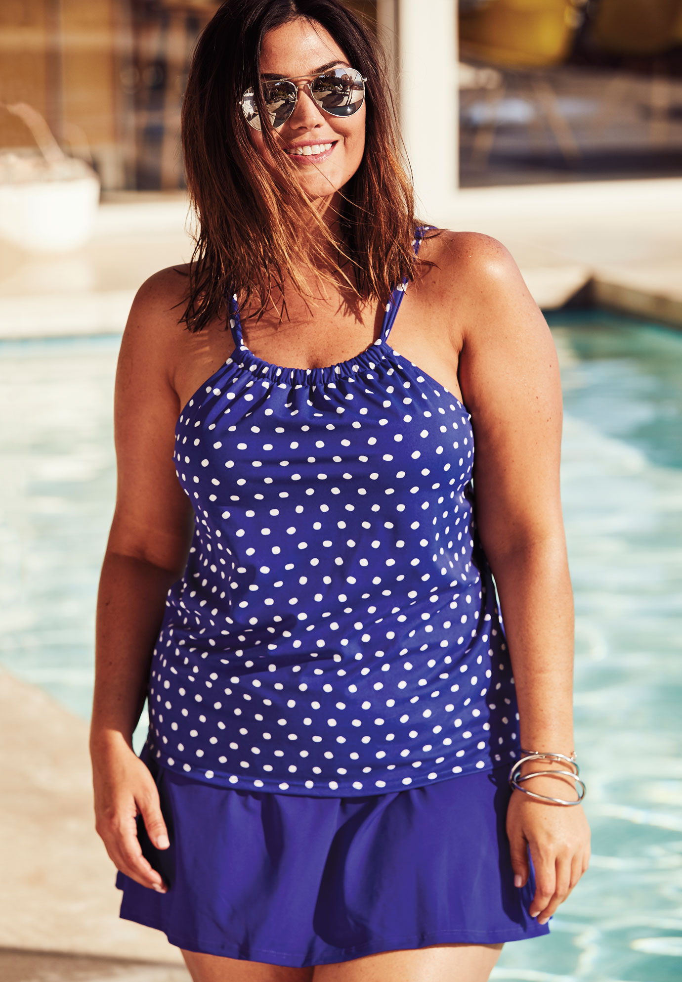 Gathered-Neck Tankini Top,