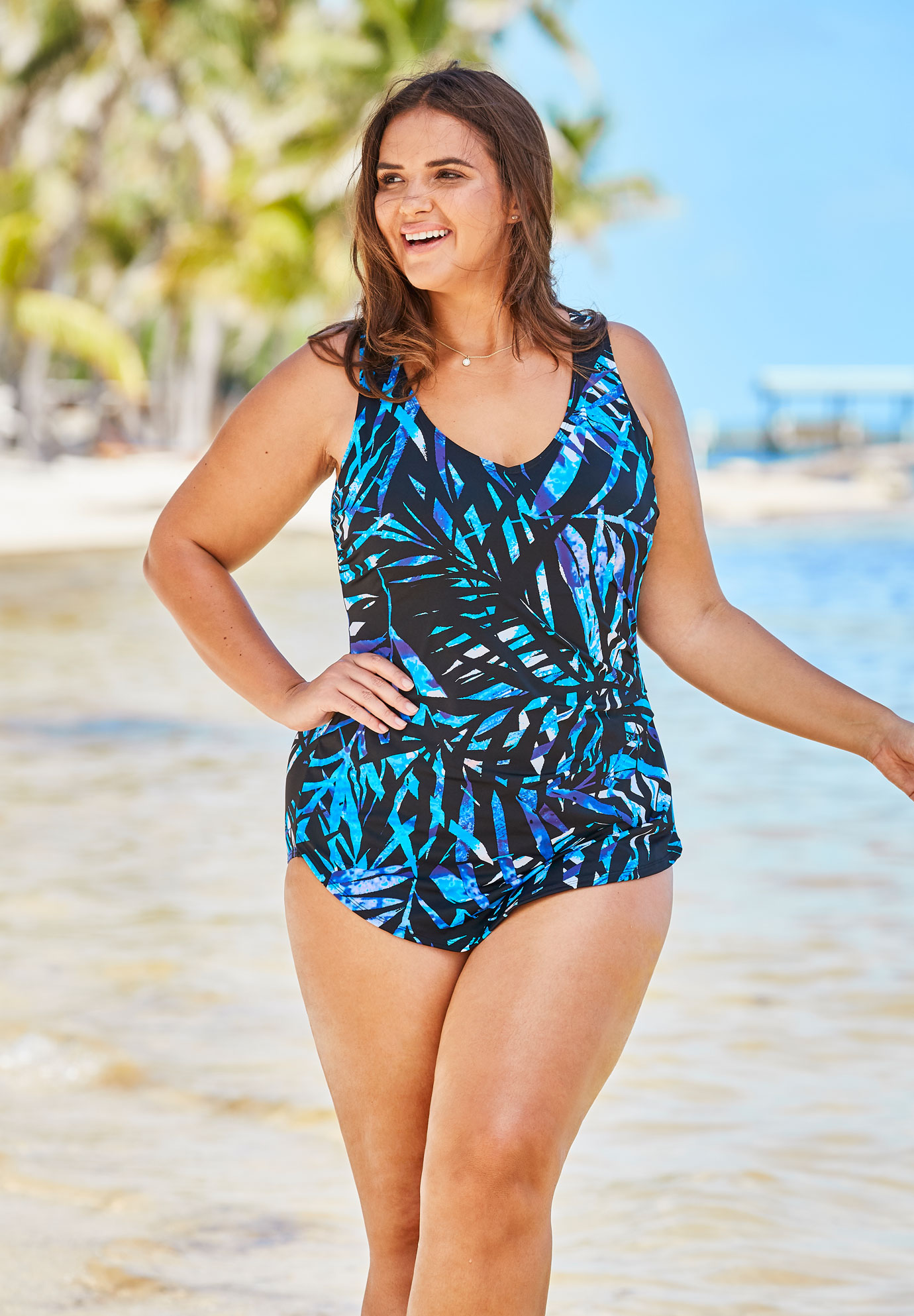 f0ce7dd8be56f Sarong-Front One-Piece Swimsuit by Beach Belle