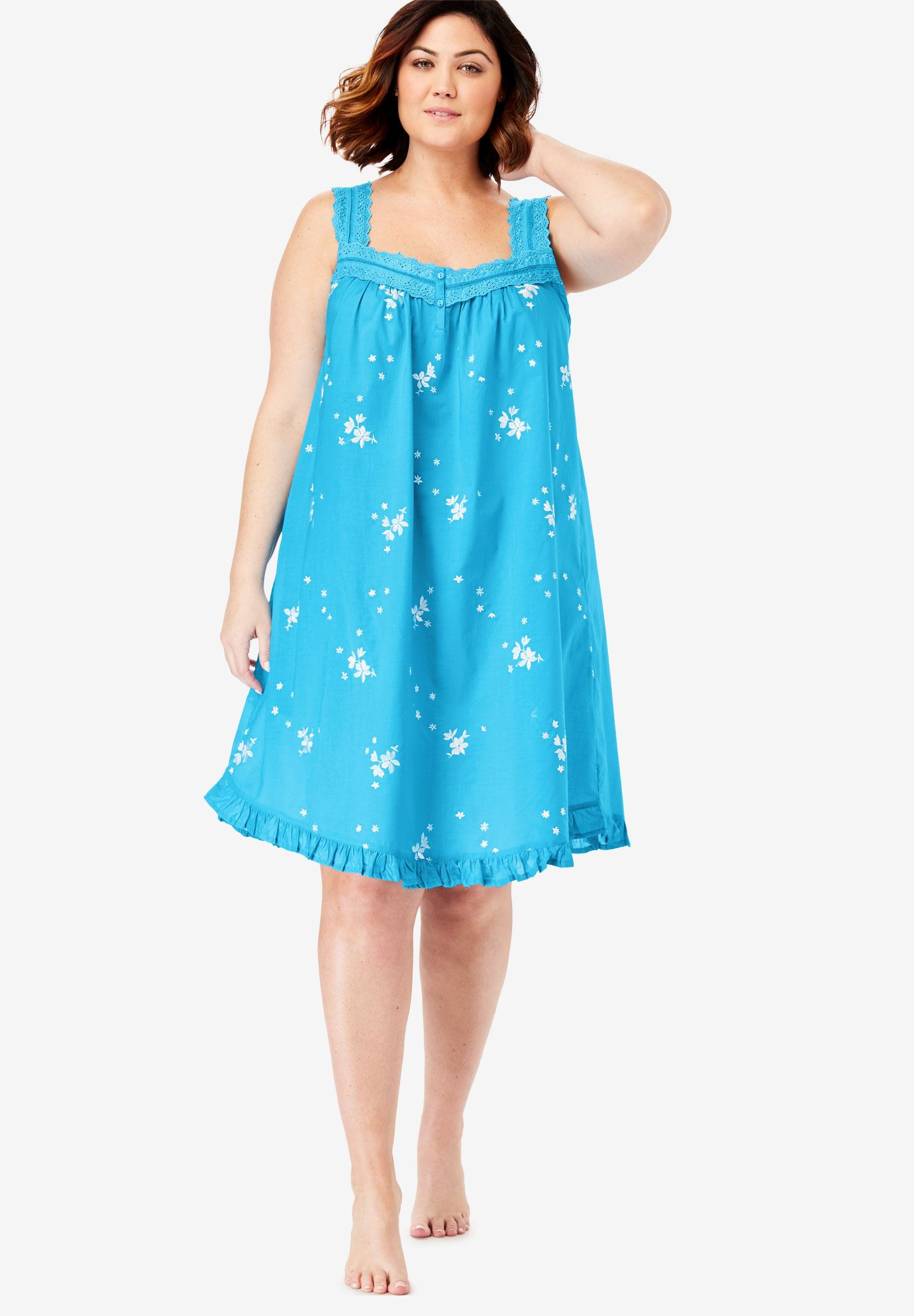 Short Embroidered Nightgown By Dreams Co Plus Size Sleep Gowns