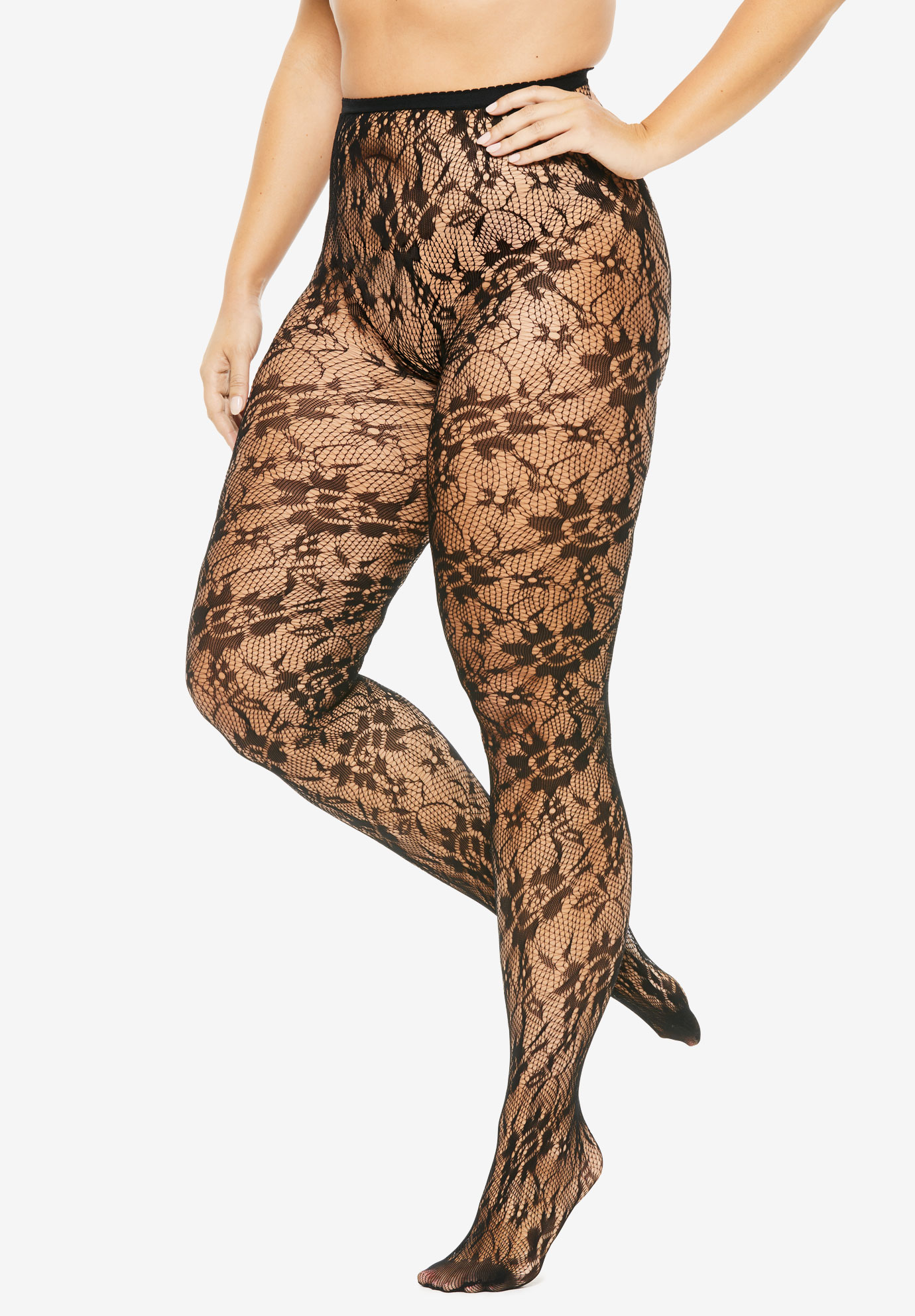 2-Pack Lace Tights by Comfort Choice®,