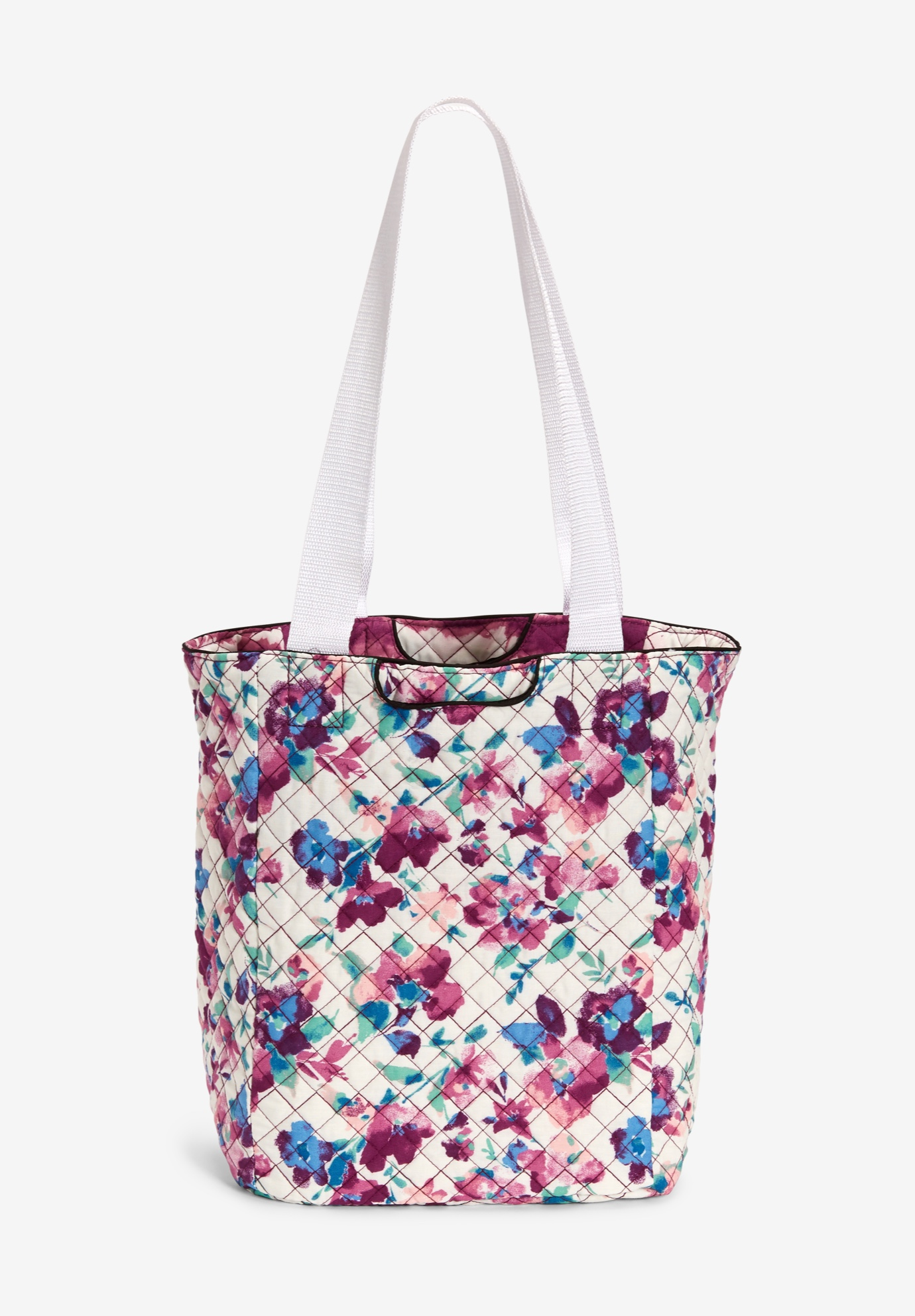 Reversible Quilted Tote, WHITE WATERCOLOR BLOSSOM