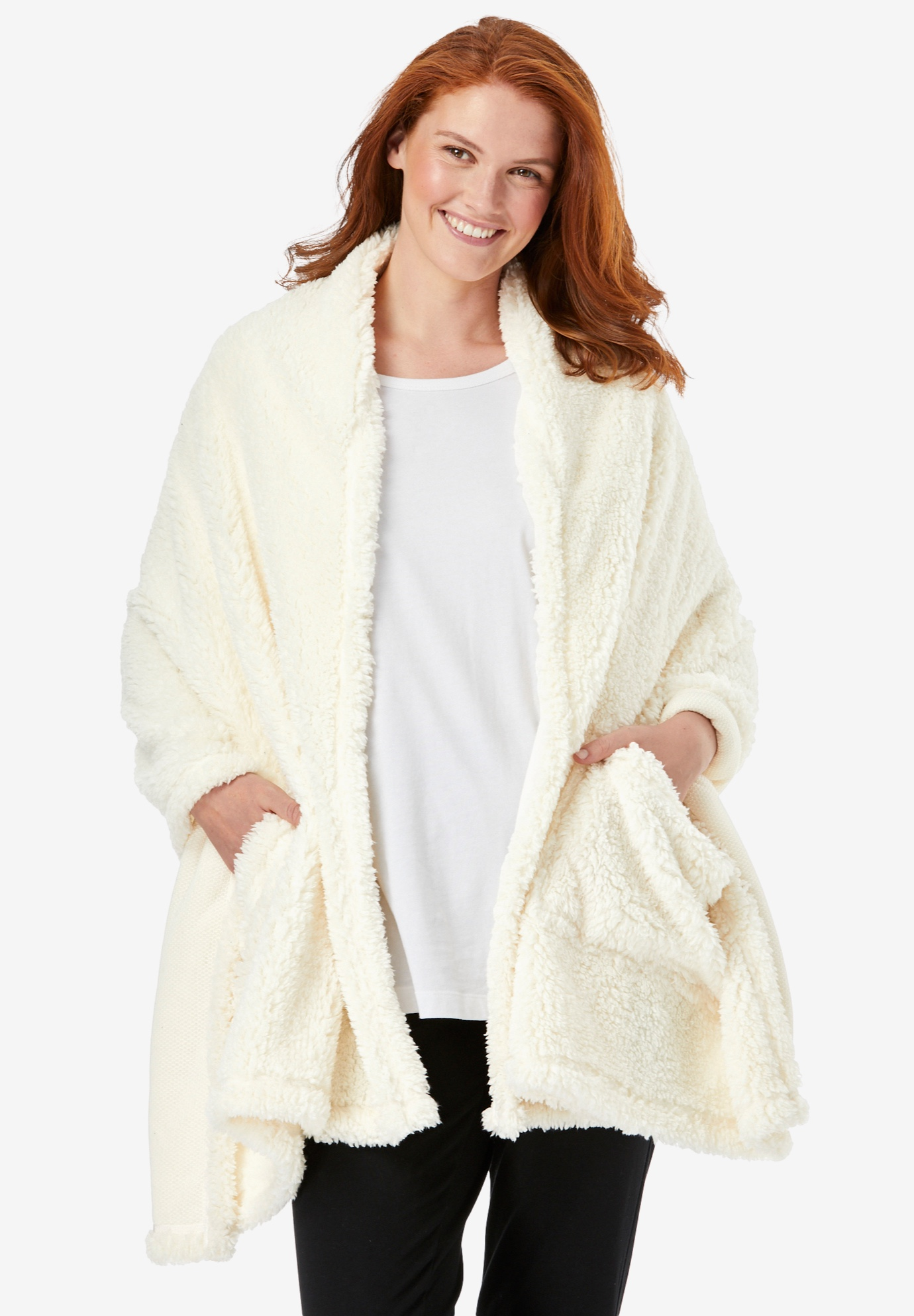 Drape-Over Sherpa Wrap by Dreams & Co.®,