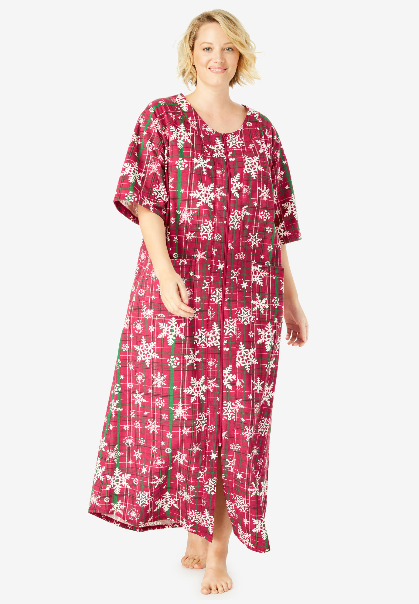 Long French Terry Zip-Front Robe by Dreams   Co.®  725e85f77