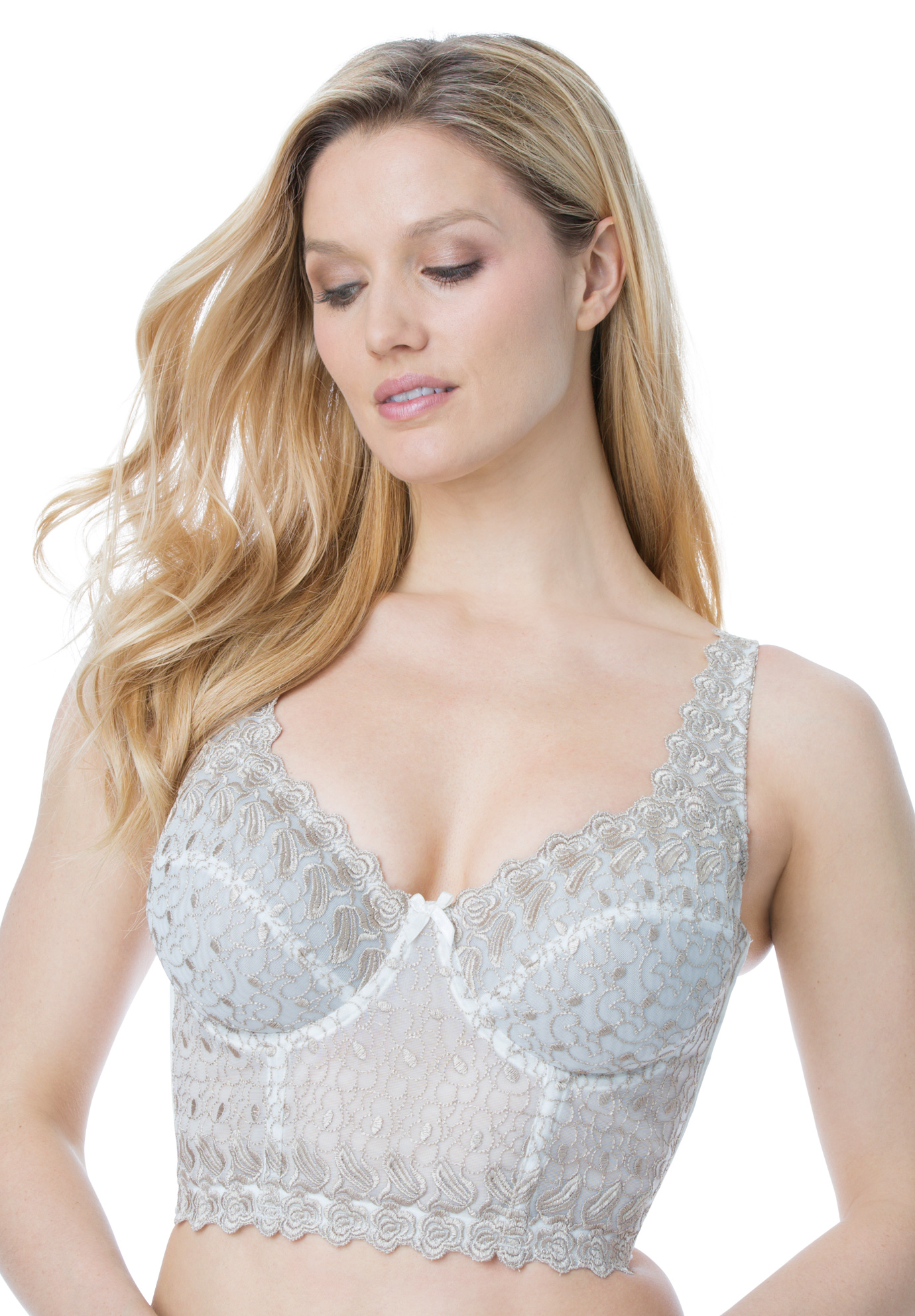 0db382431ba13 Embroidered Longline Underwire Bra by Amoureuse®