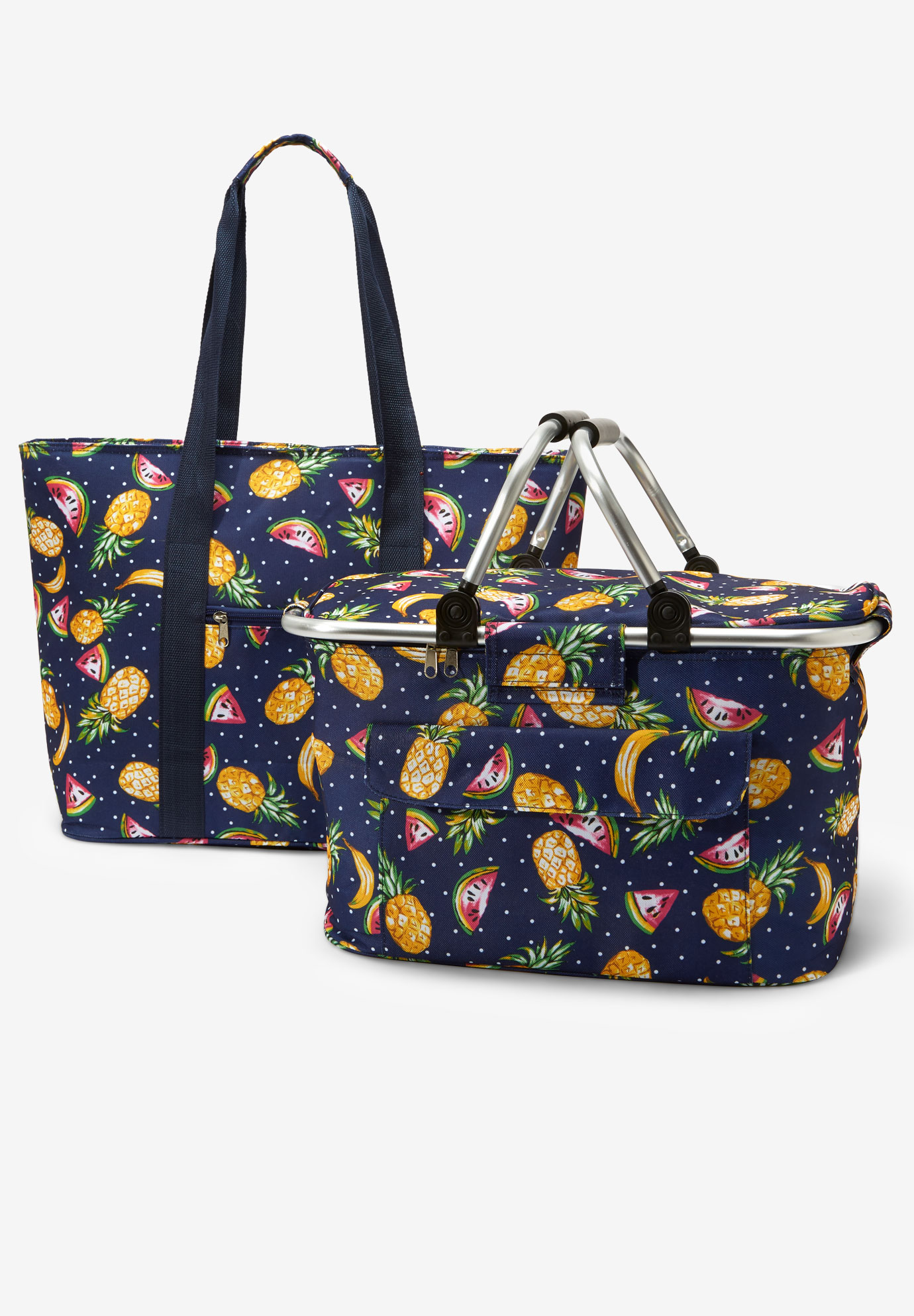 2-Piece Picnic Basket set, MULTI FRUIT DOT