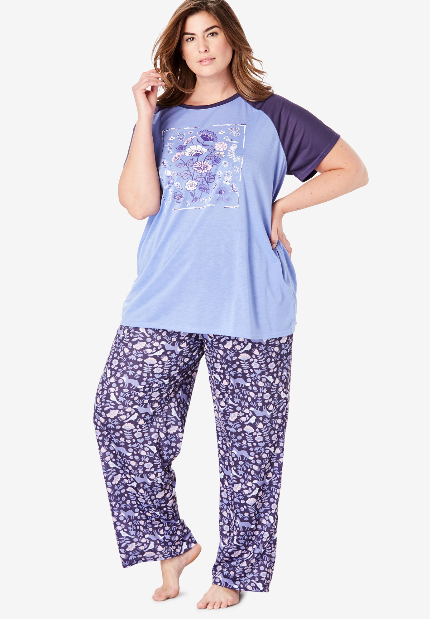 Cool Dreams Baseball Tee Pajama Set by Dreams & Co.®,