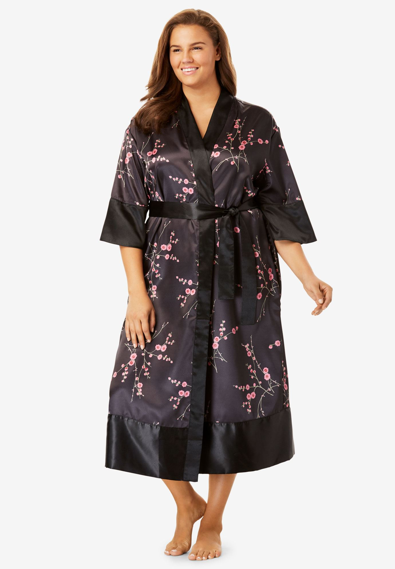 Luxe Satin Belted Kimono by Amoureuse®,
