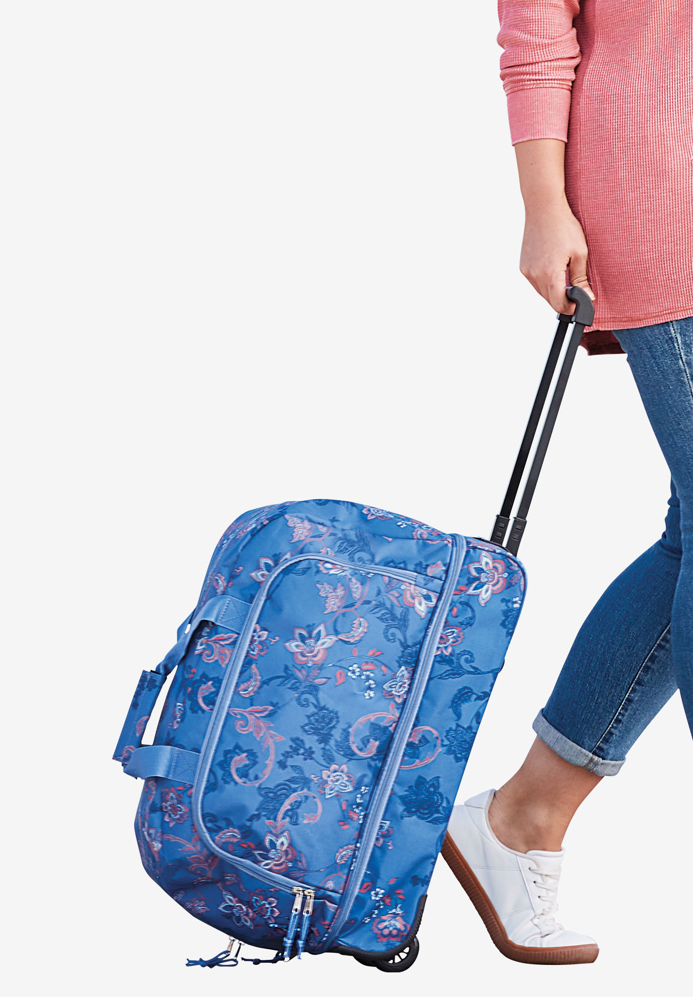 2-Piece Duffle Trolley & Cosmetic Case Set, DUSTY INDIGO SCROLL