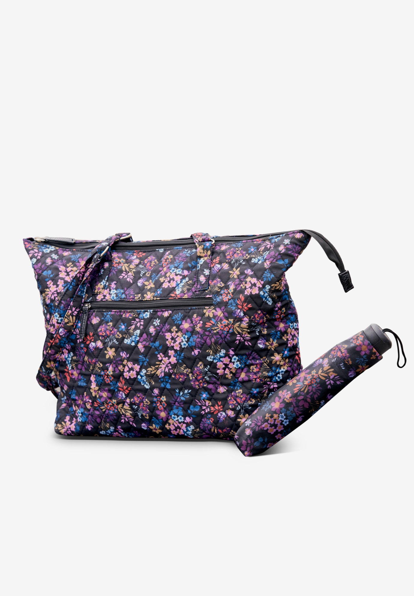 Umbrella and Tote Set, BLACK TOSSED FLORALS