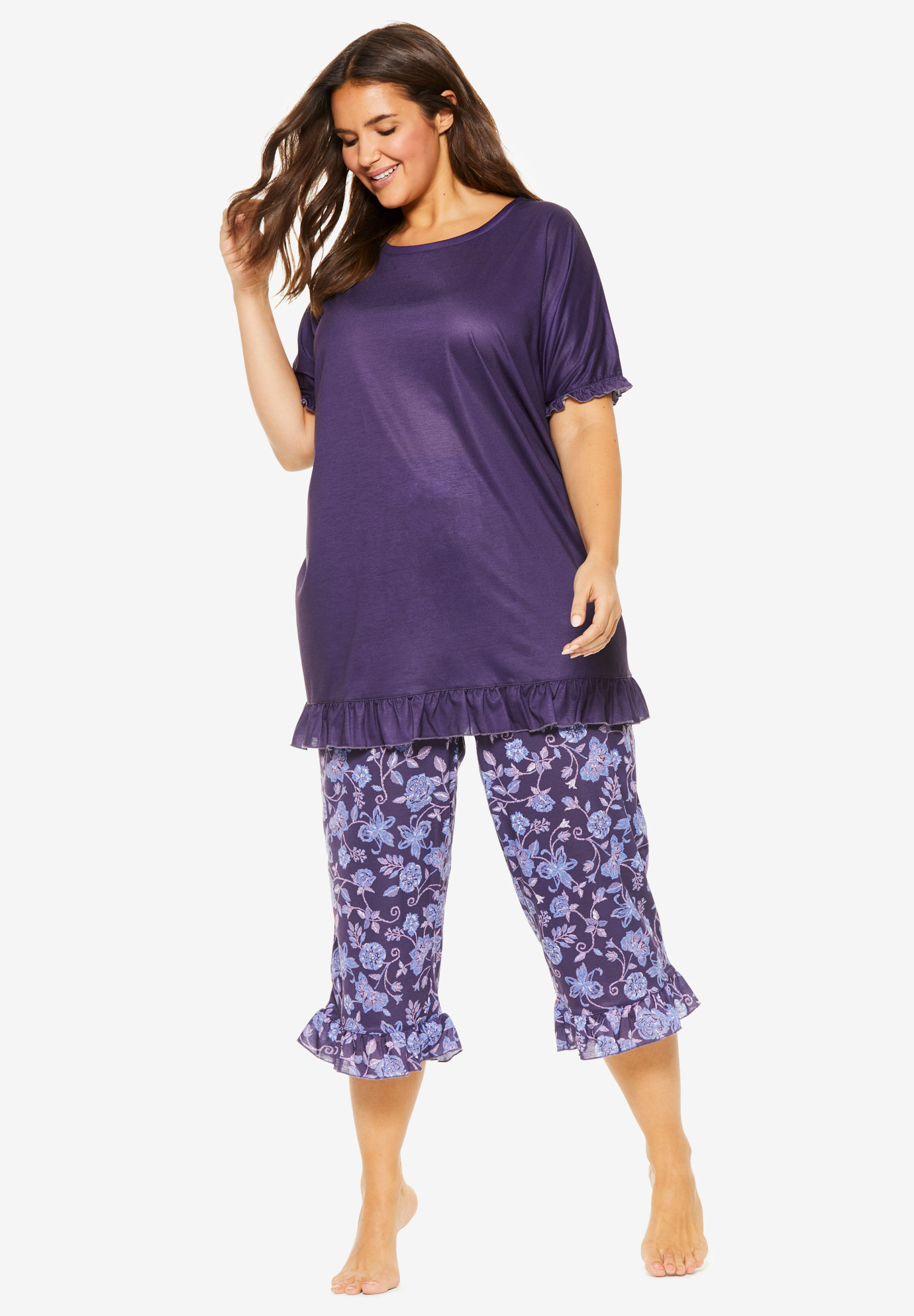 Cool Dreams Ruffled Capri Pajama Set,