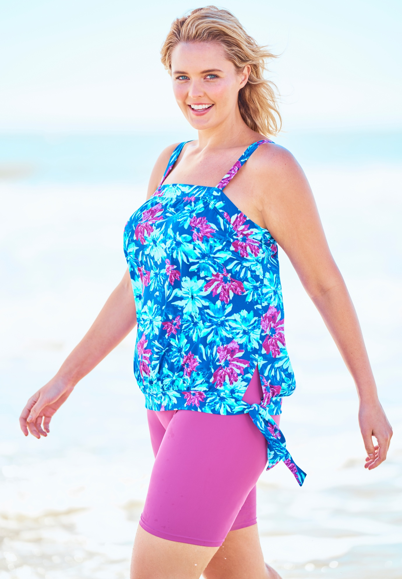 Blouson Tankini Top with Adjustable Straps by Swim 365,