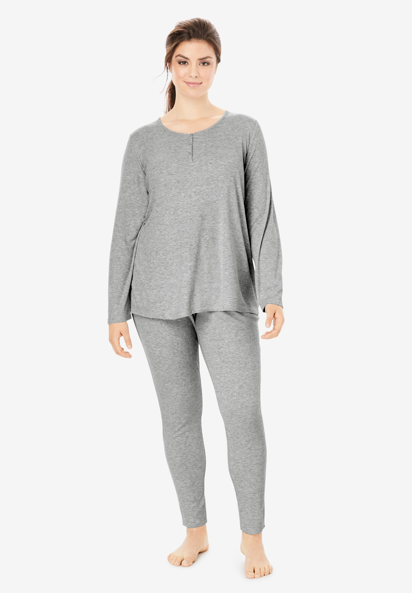 Long-Sleeve Rib Henley Sleep Tee ,
