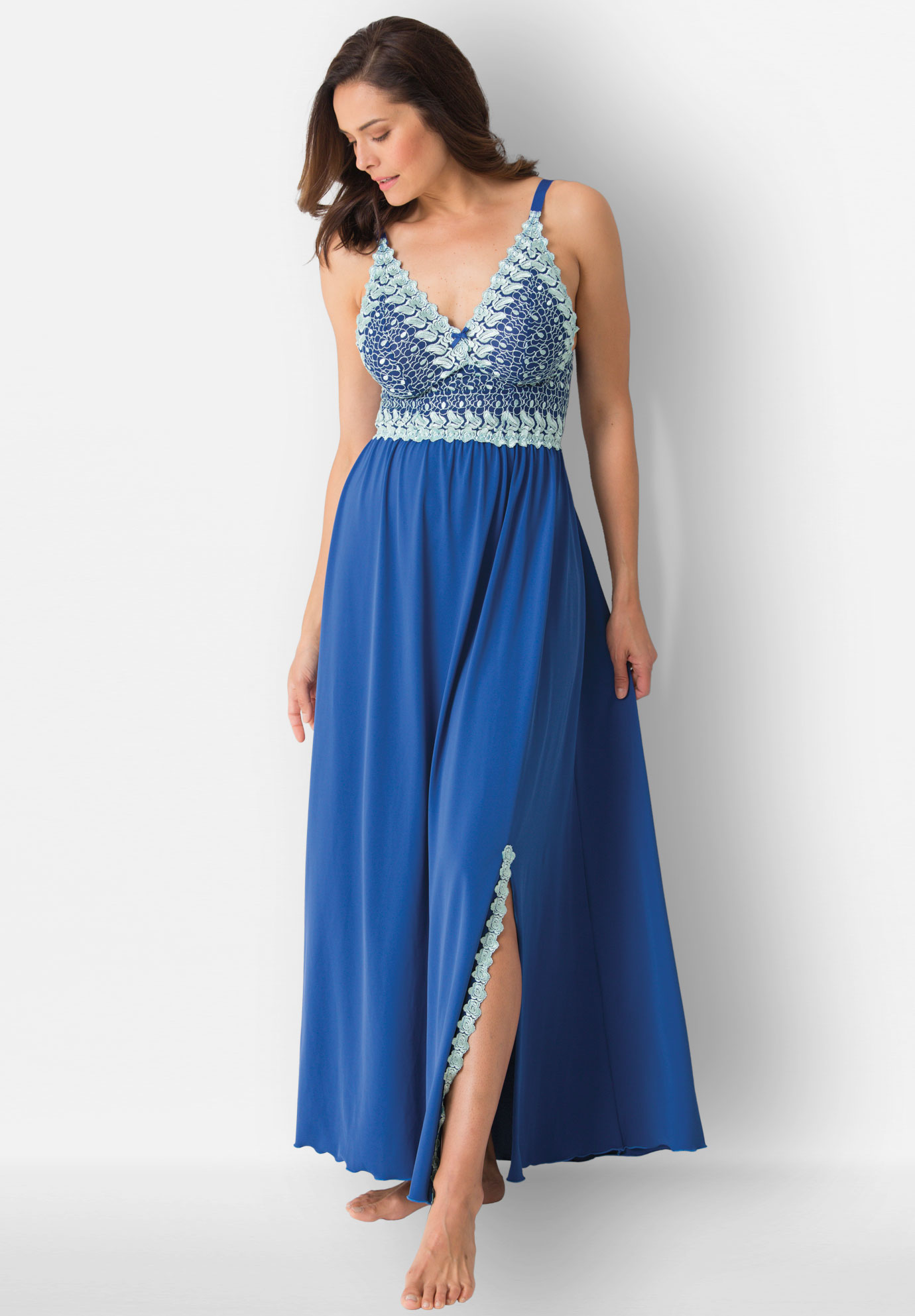 Amoureuse® long embroidered gown | Plus Size Sleepwear & Robes ...